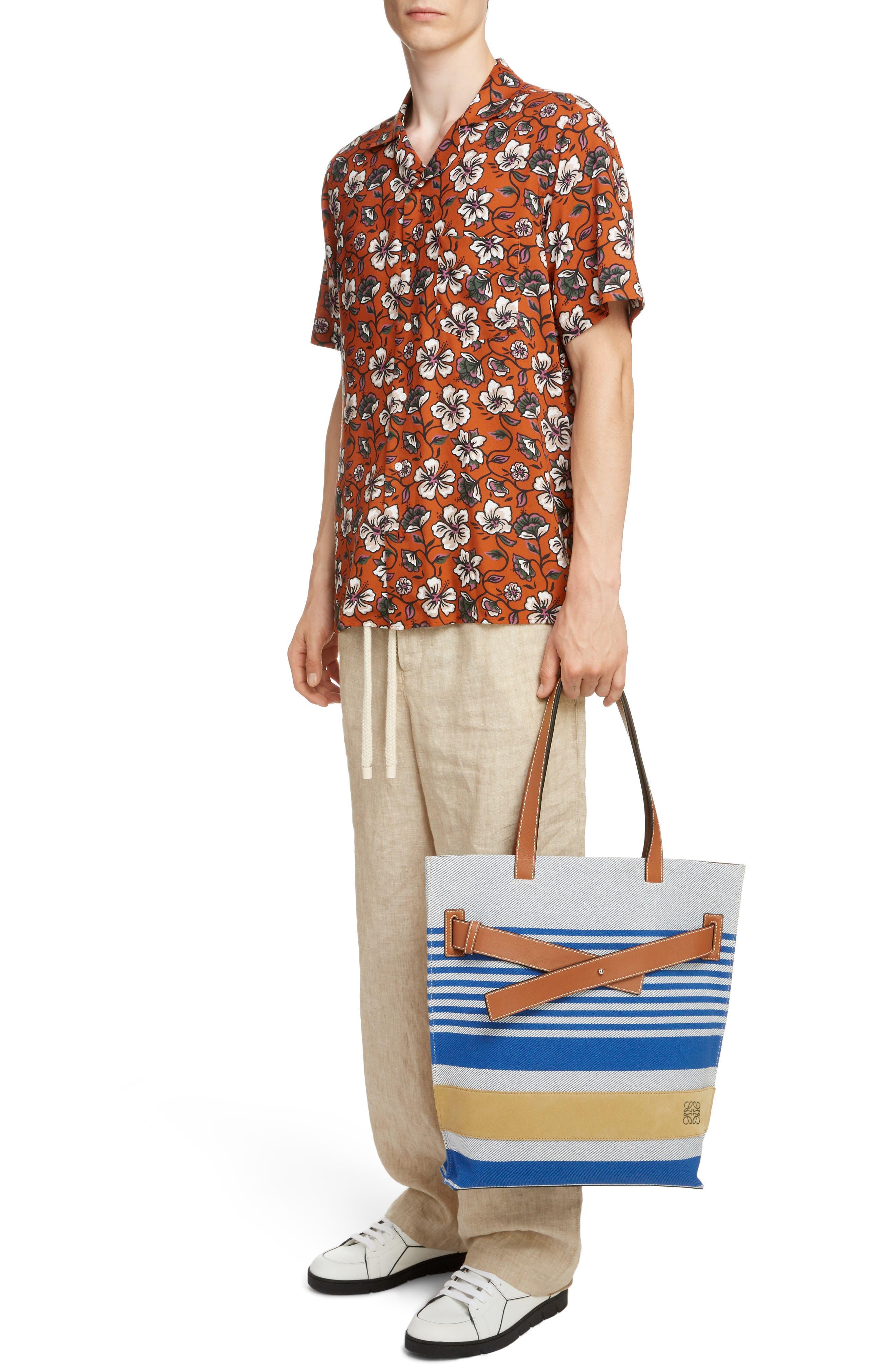 LOEWE, Stripe Twill Tote Bag, Alternate thumbnail 2, color, PACIFIC BLUE/MULTICOLOR