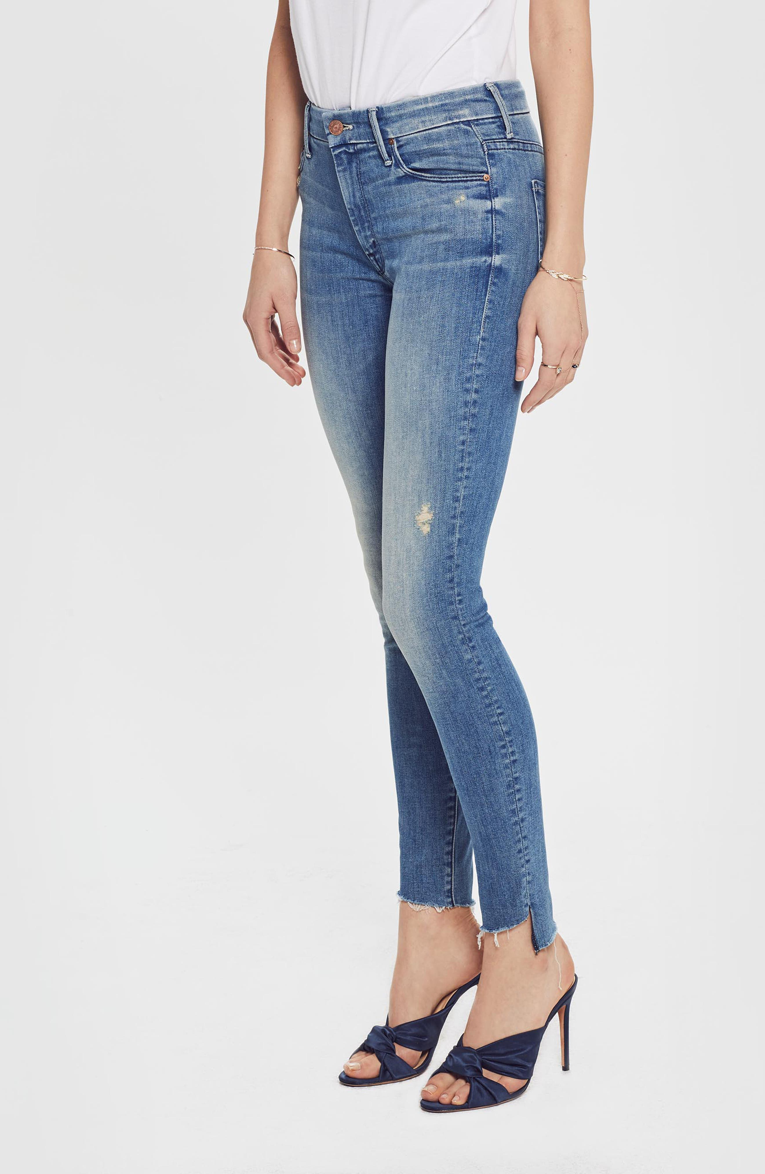 MOTHER, The Looker Frayed Step Hem Ankle Skinny Jeans, Alternate thumbnail 6, color, WHERE THERES SMOKE