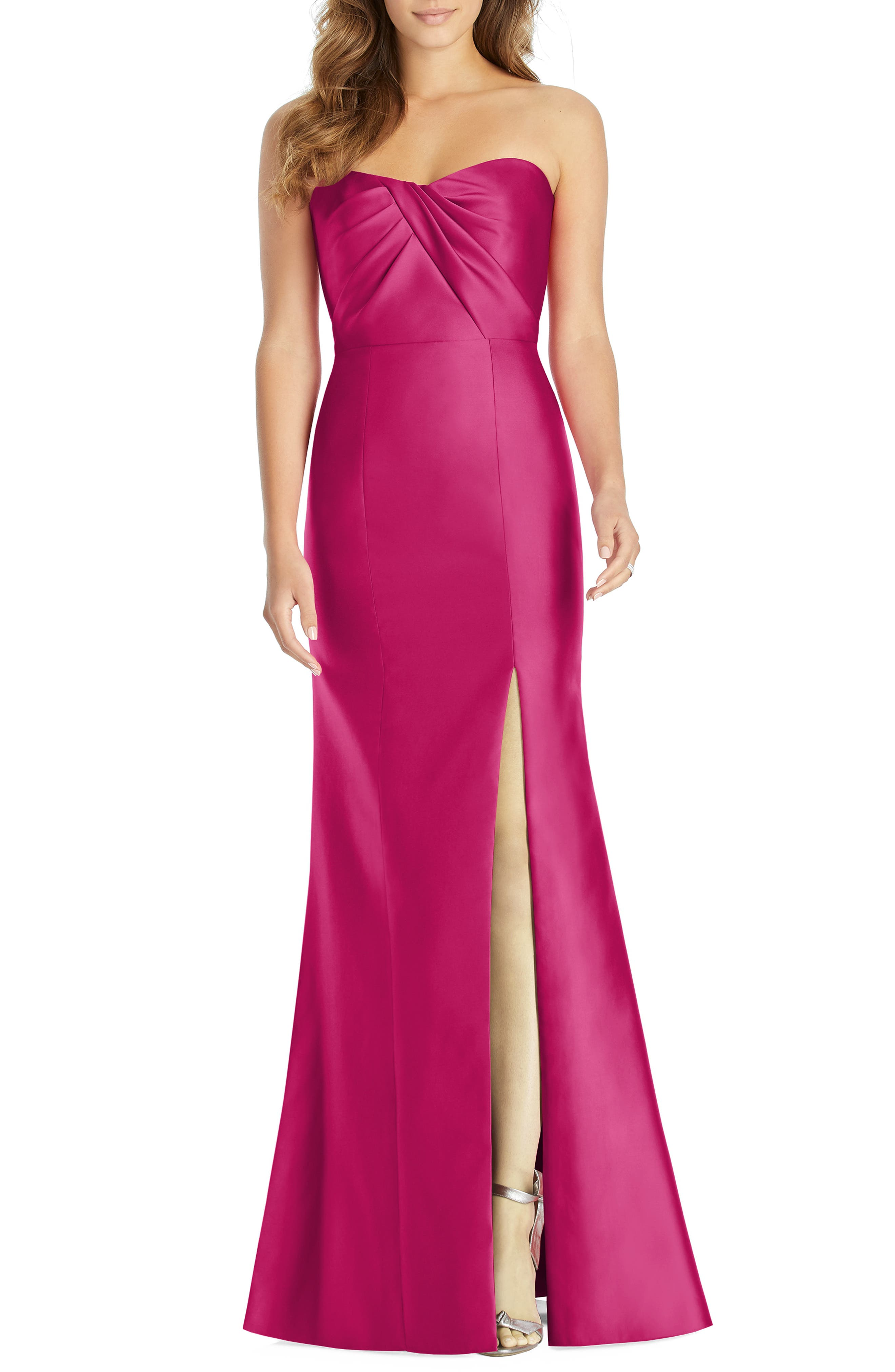 Alfred Sung Sateen Twill Strapless Sweetheart Neckline Gown, Red