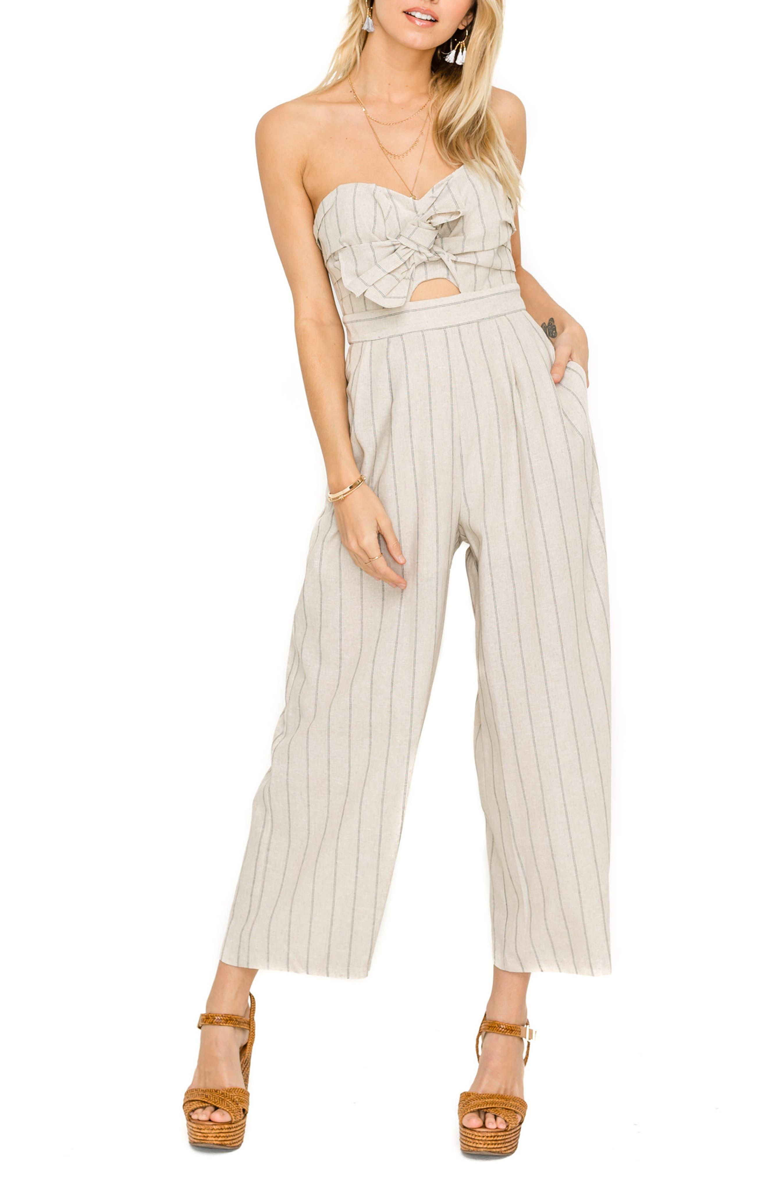 ASTR THE LABEL Mara Strapless Cotton & Linen Jumpsuit, Main, color, NATURAL/ BLACK STRIPE