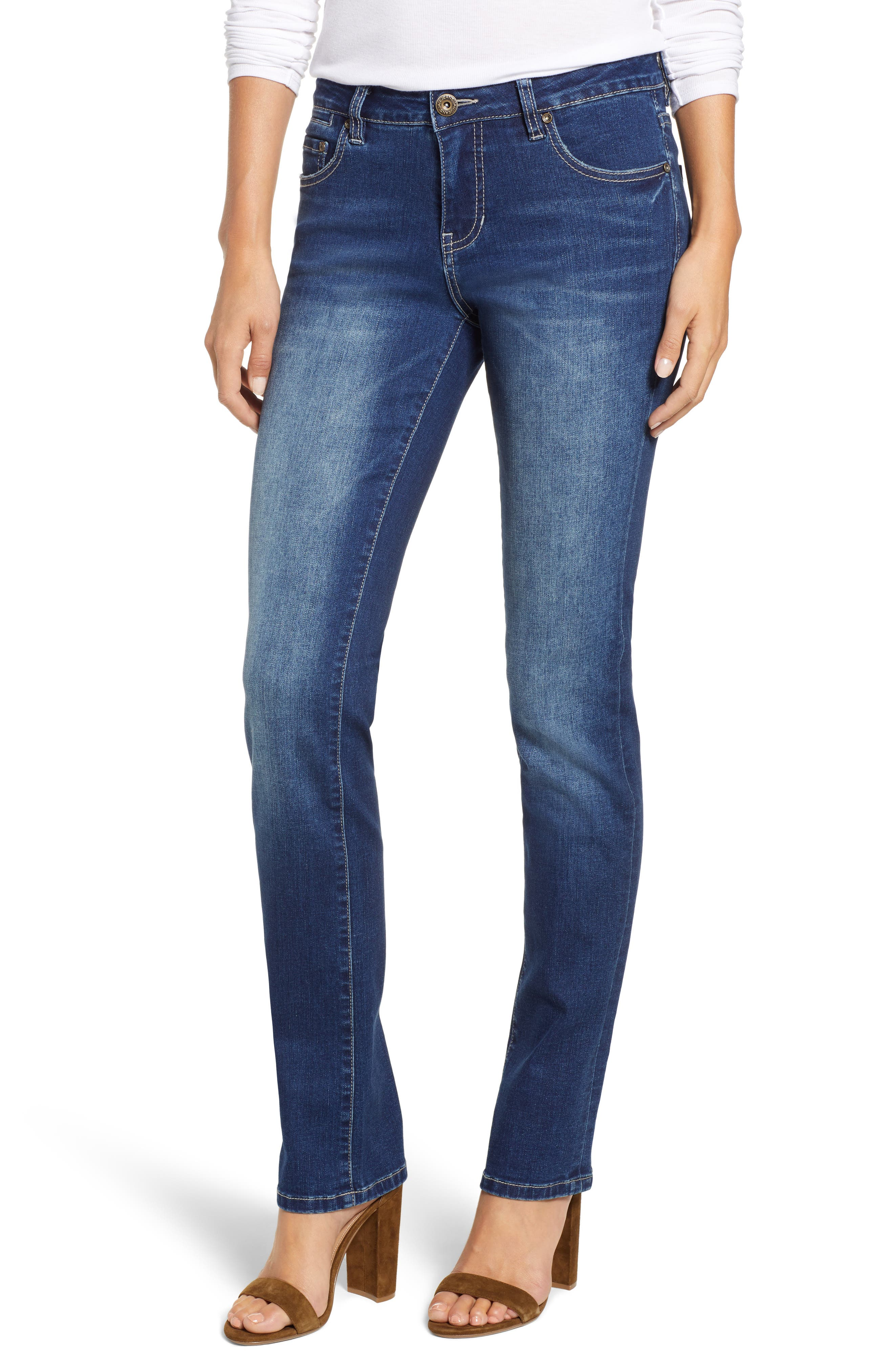 JAG JEANS, Hanna Stretch Straight Leg Jeans, Main thumbnail 1, color, MED INDIGO