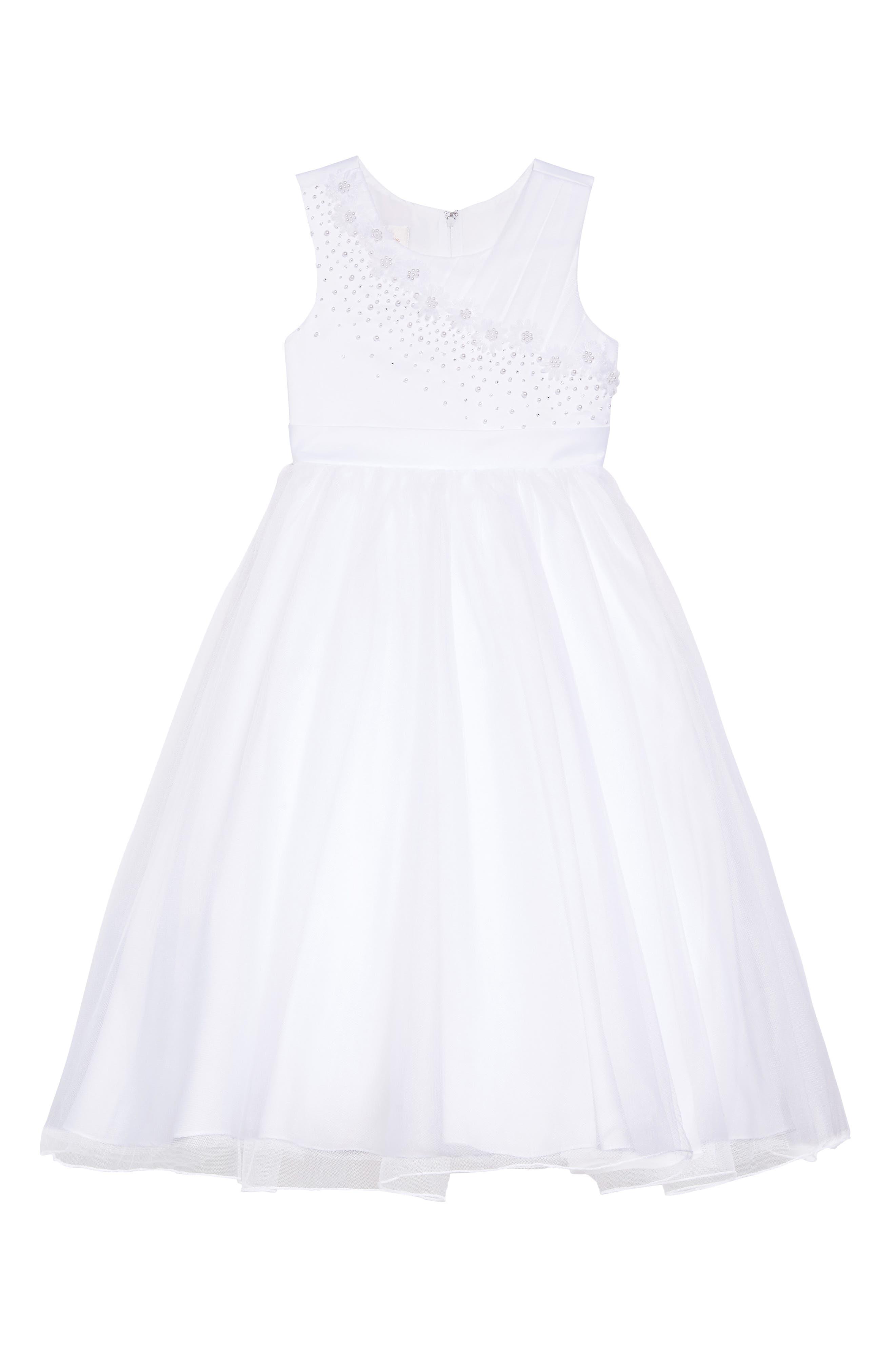 LAUREN MARIE, Imitation Pearl Tulle Dress, Main thumbnail 1, color, WHITE
