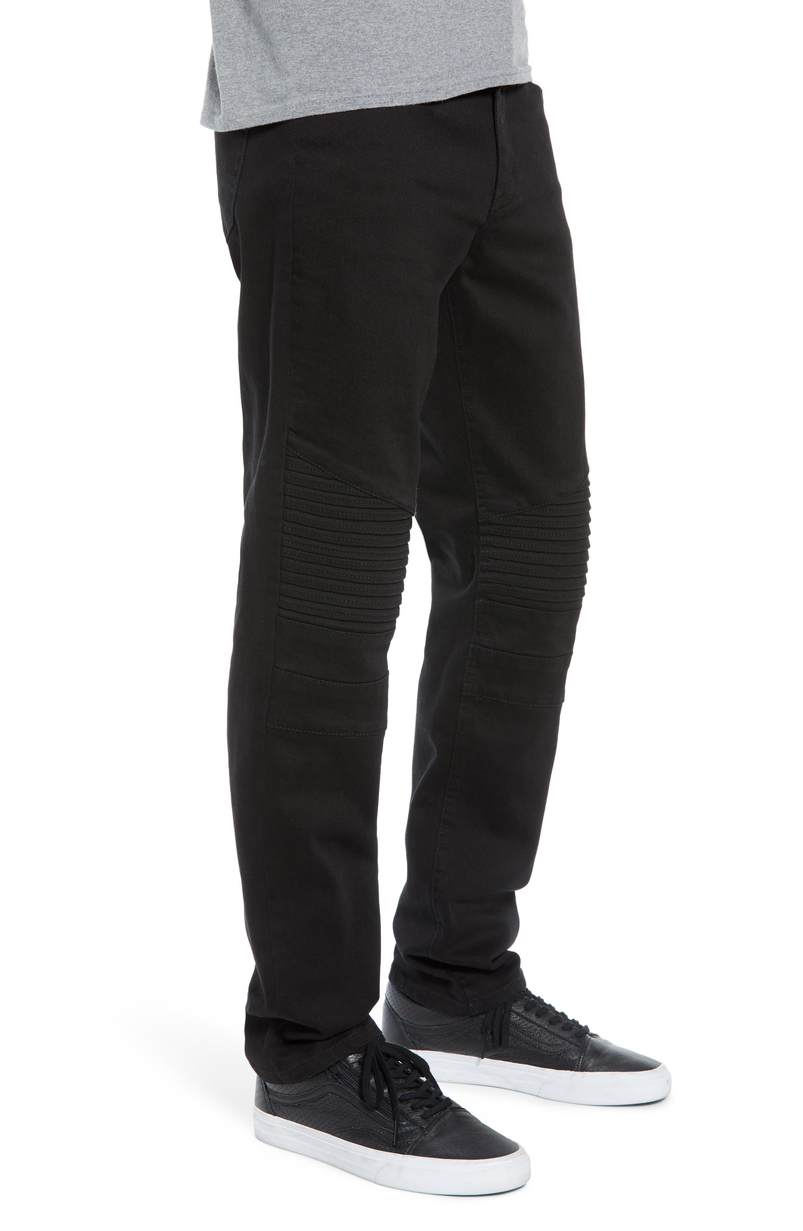 THE RAIL, Skinny Moto Jeans, Alternate thumbnail 4, color, BLACK WASH