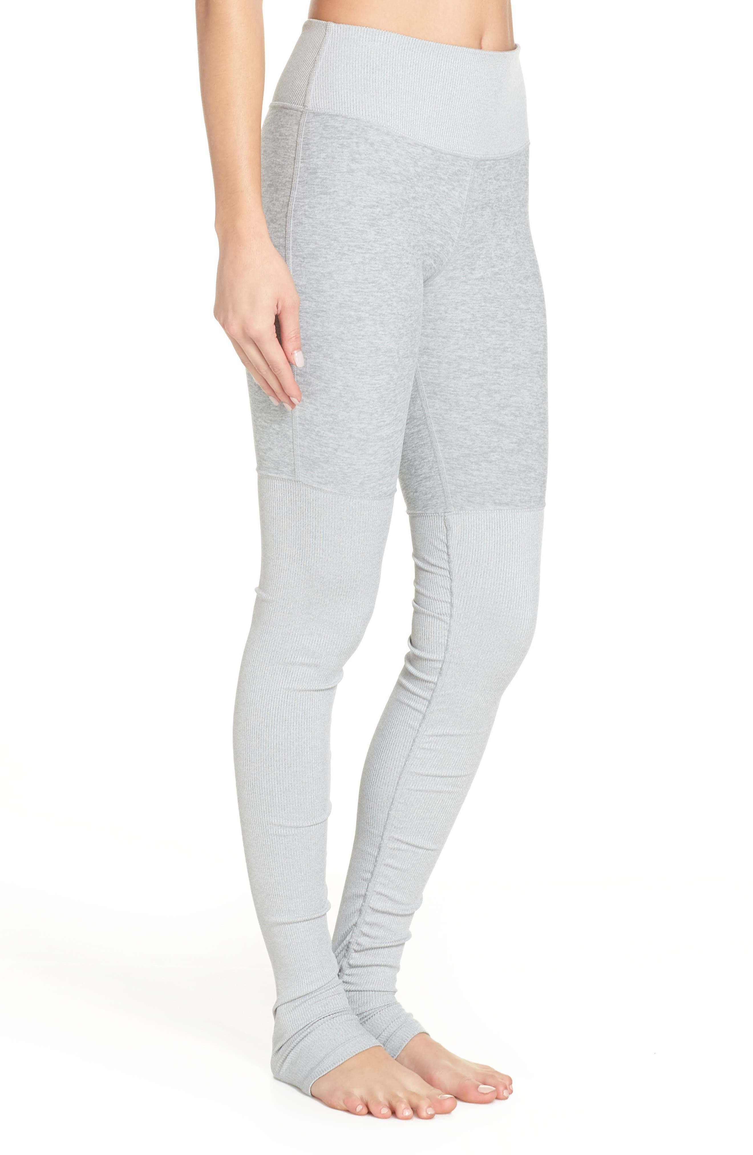 ALO, Alosoft Goddess Leggings, Alternate thumbnail 4, color, ZINC HEATHER