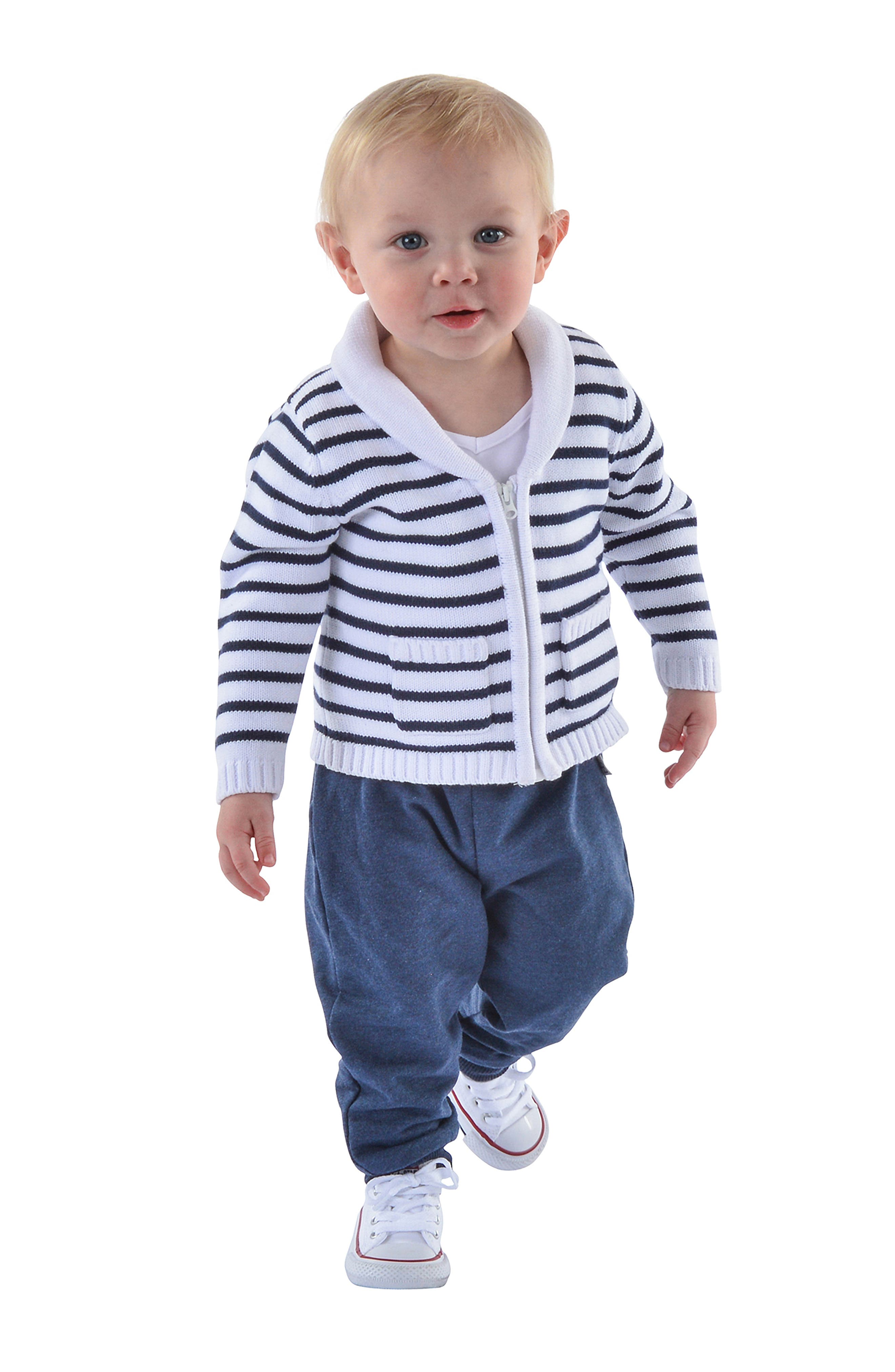 LITTLE BROTHER BY PIPPA & JULIE, Sweater, T-Shirt & Pants Set, Alternate thumbnail 5, color, NAVY/ WHITE