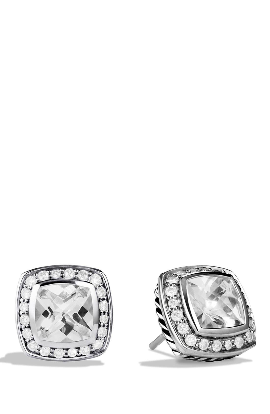 DAVID YURMAN, 'Albion' Petite Earrings with Semiprecious Stones & Diamonds, Main thumbnail 1, color, WHITE TOPAZ