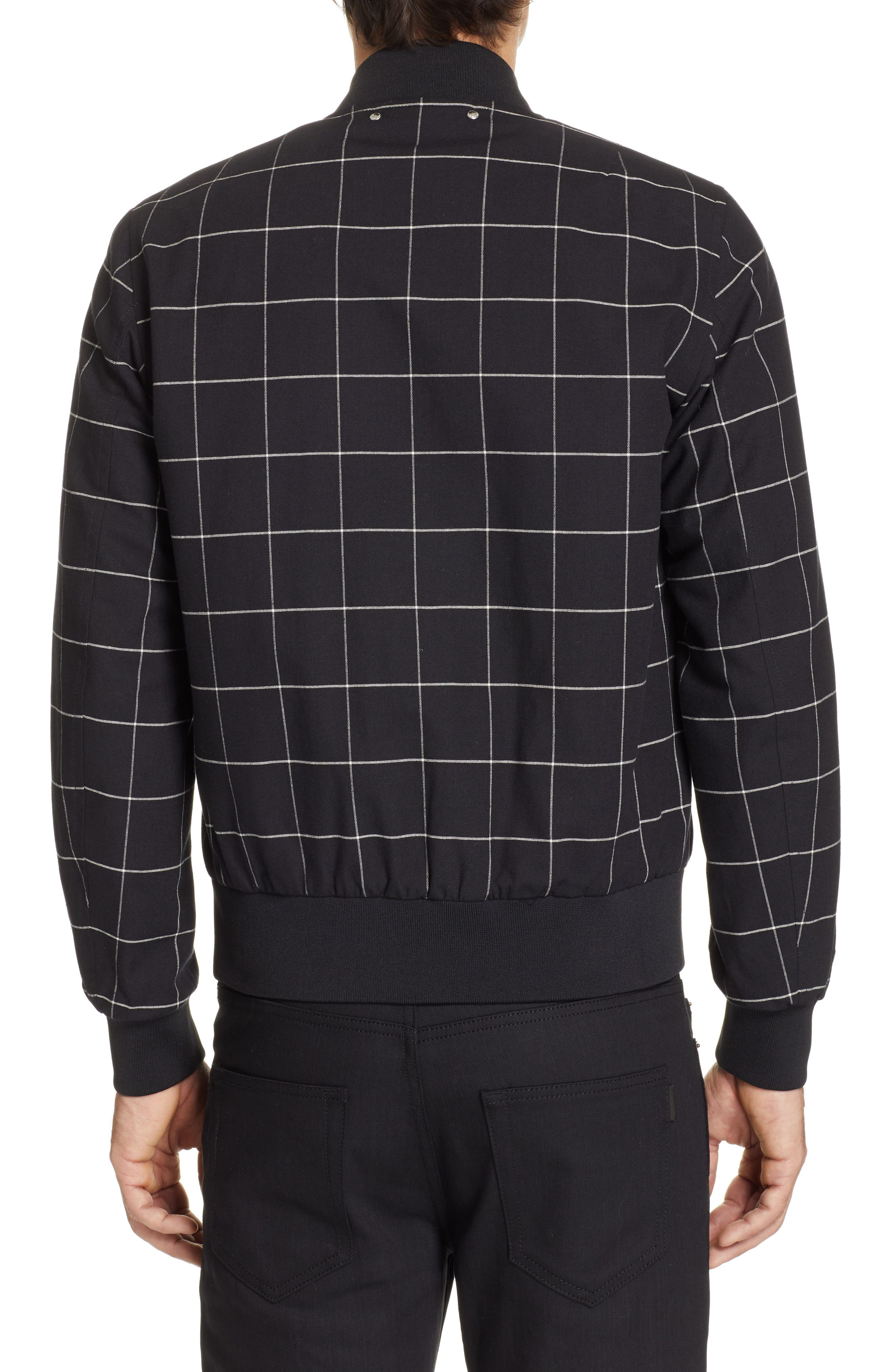PS PAUL SMITH, Grid Wool Blend Bomber Jacket, Alternate thumbnail 2, color, BLACK