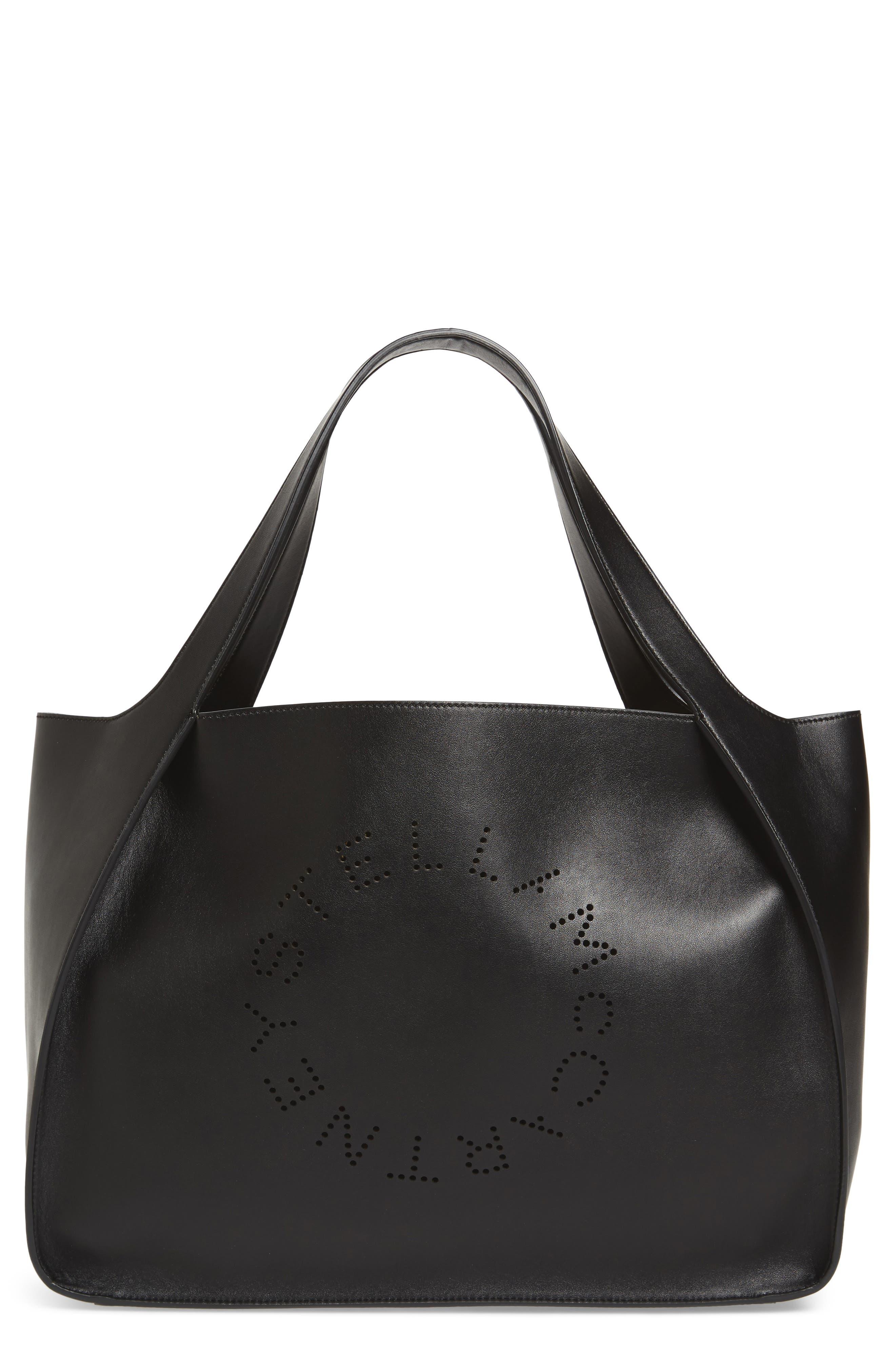 STELLA MCCARTNEY Medium Perforated Logo Faux Leather Tote, Main, color, BLACK