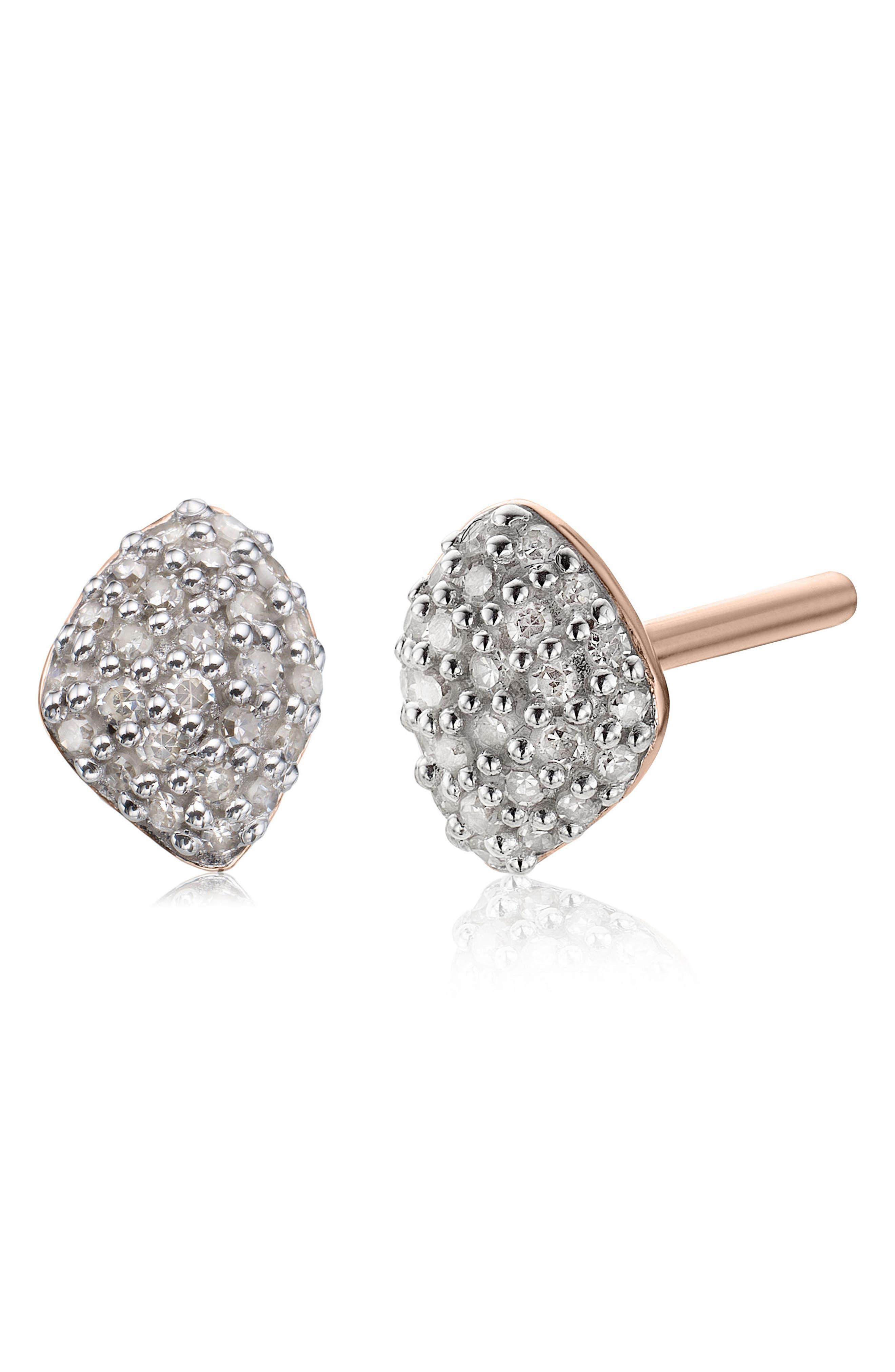 MONICA VINADER, Nura Mini Diamond Stud Earrings, Alternate thumbnail 3, color, ROSE GOLD/ DIAMOND