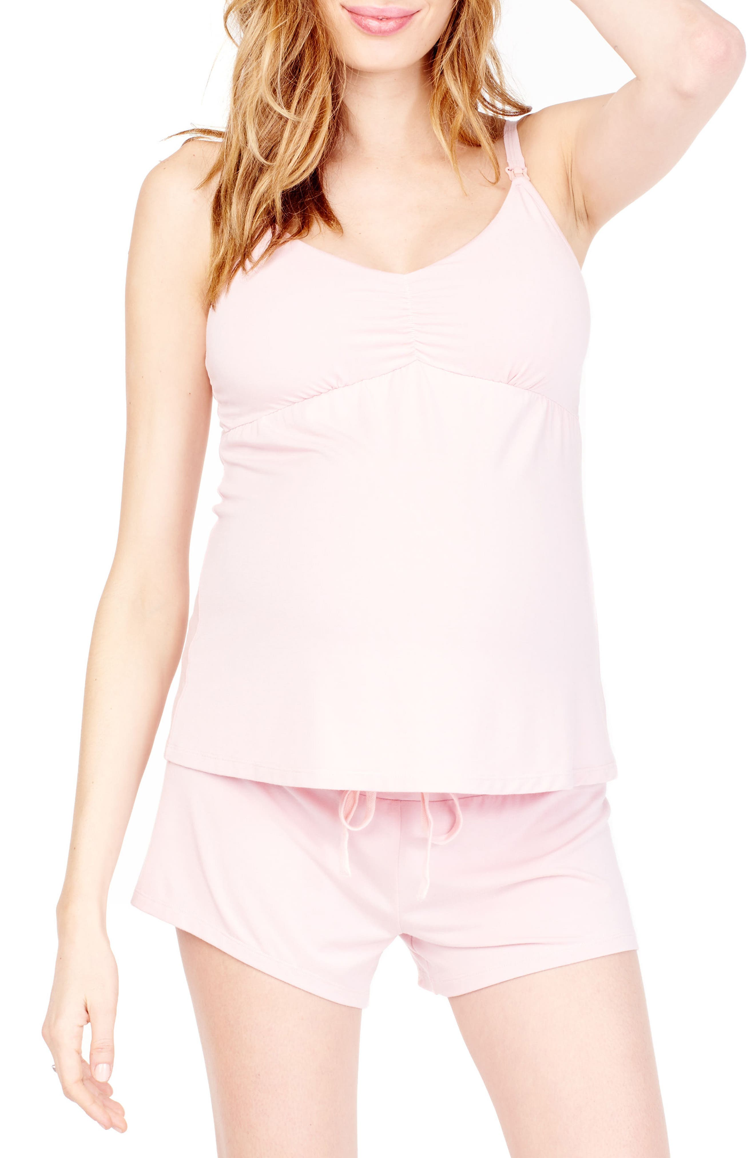 INGRID & ISABEL<SUP>®</SUP>, Maternity/Nursing Sleep Cami, Alternate thumbnail 3, color, BLUSH
