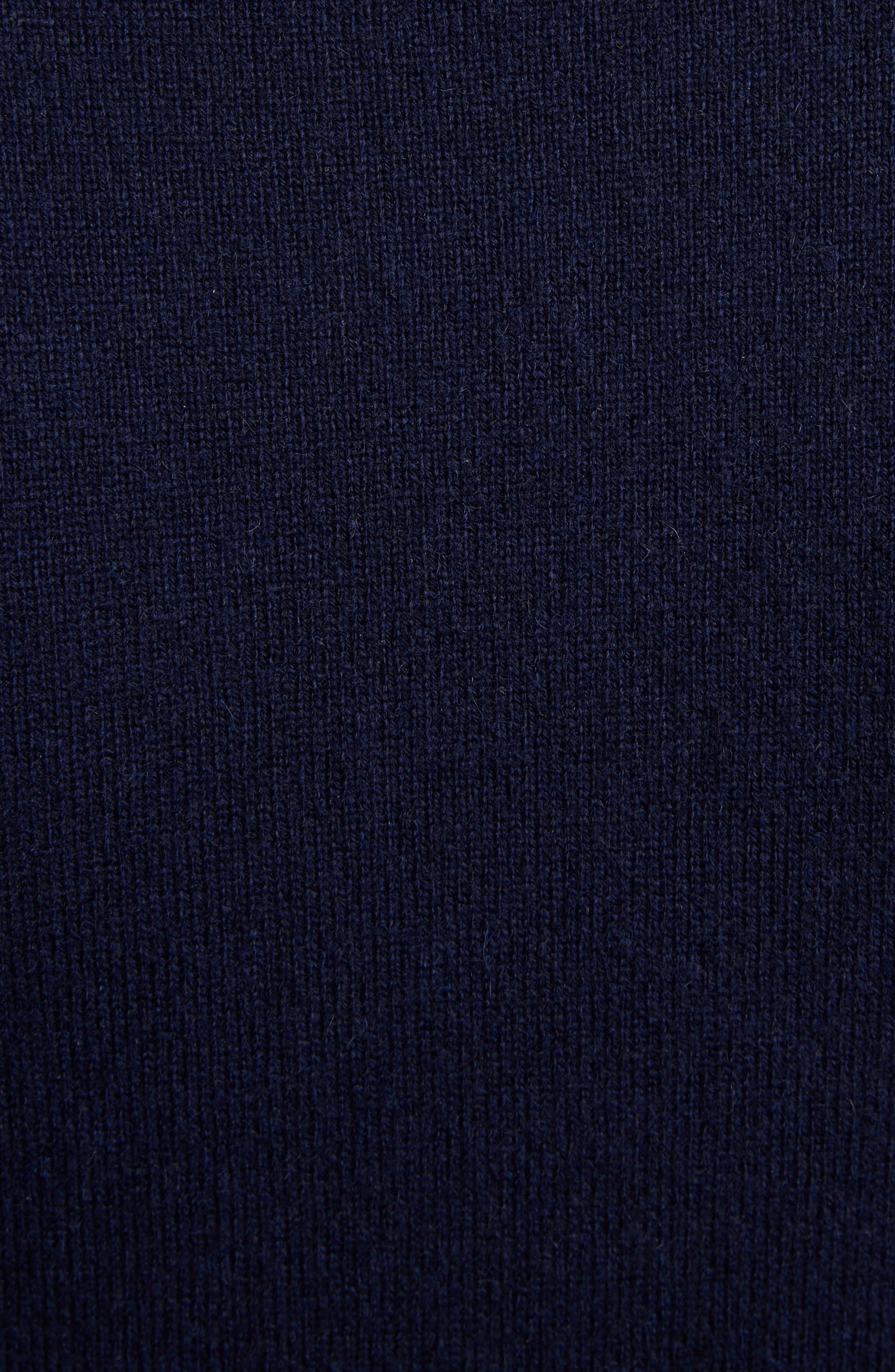 THOM BROWNE, Classic Crewneck Cashmere Sweater, Alternate thumbnail 5, color, NAVY
