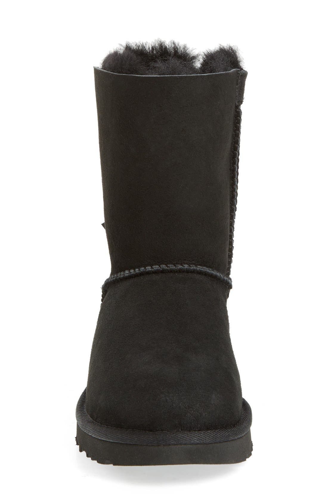 UGG<SUP>®</SUP>, Bailey Bow II Genuine Shearling Boot, Alternate thumbnail 3, color, BLACK SUEDE