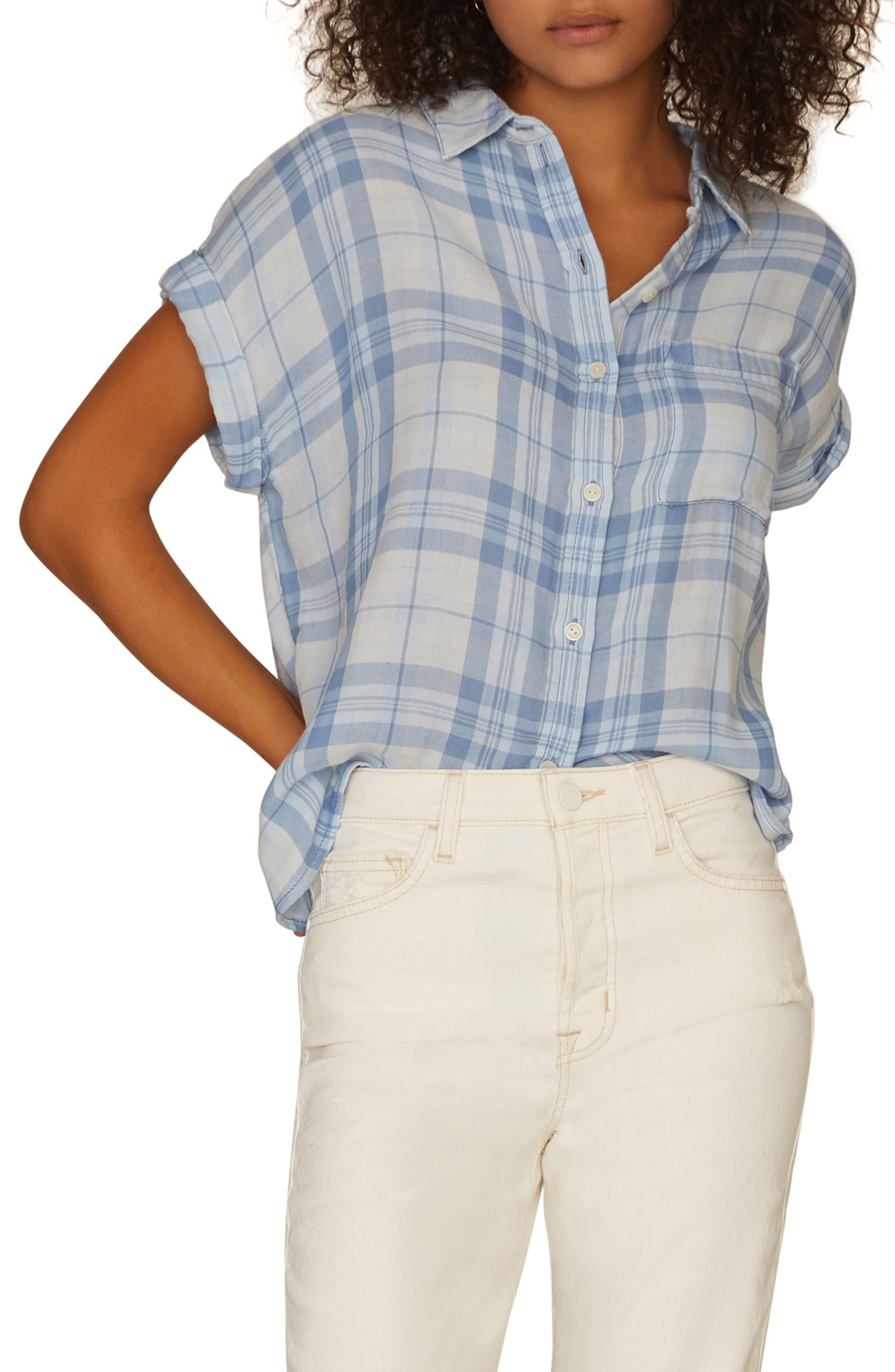 SANCTUARY, Mod Short Sleeve Boyfriend Shirt, Main thumbnail 1, color, BLEACH OUT WHITE