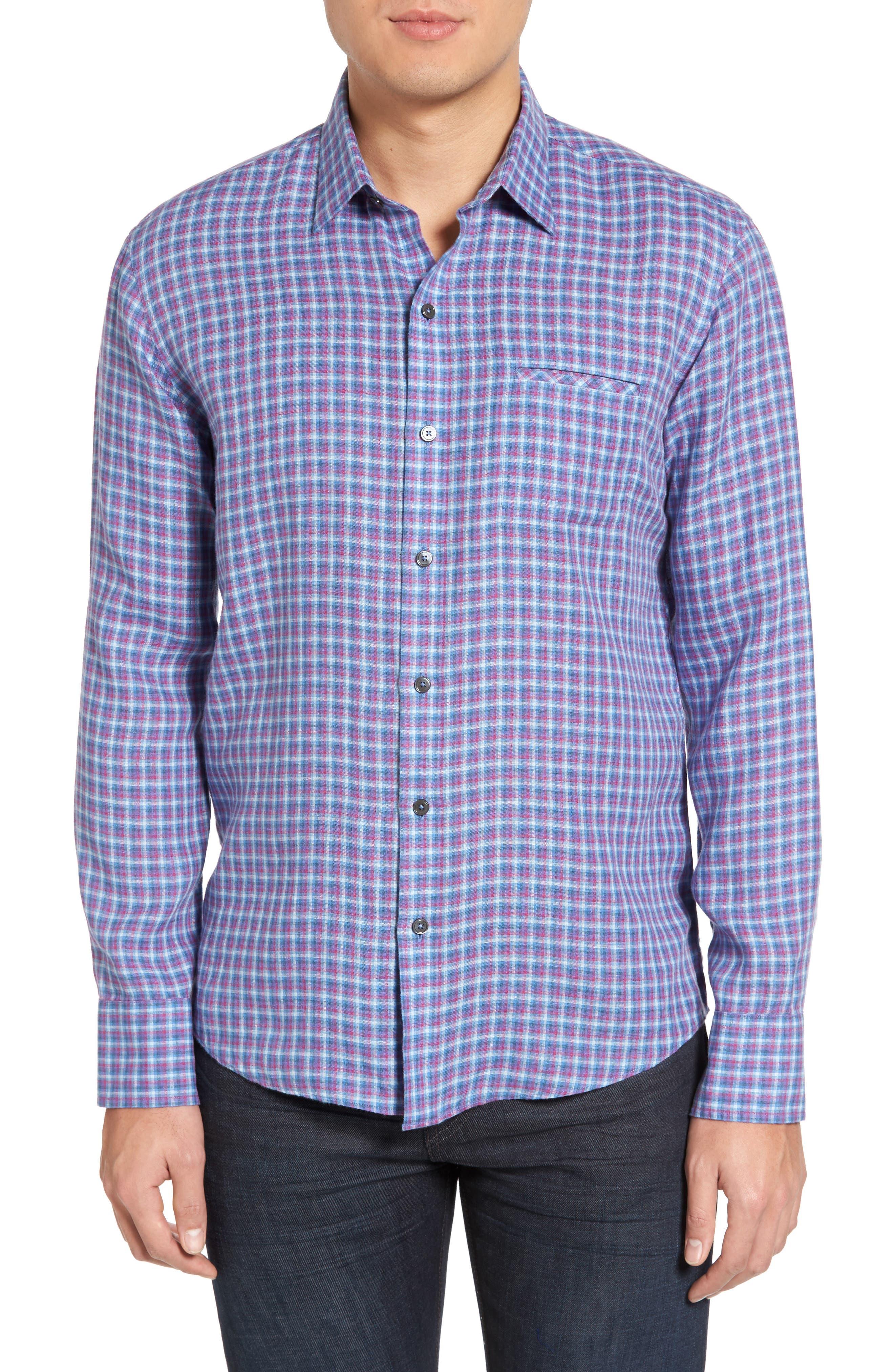 ZACHARY PRELL, Althoff Regular Fit Plaid Linen Sport Shirt, Main thumbnail 1, color, AZURE