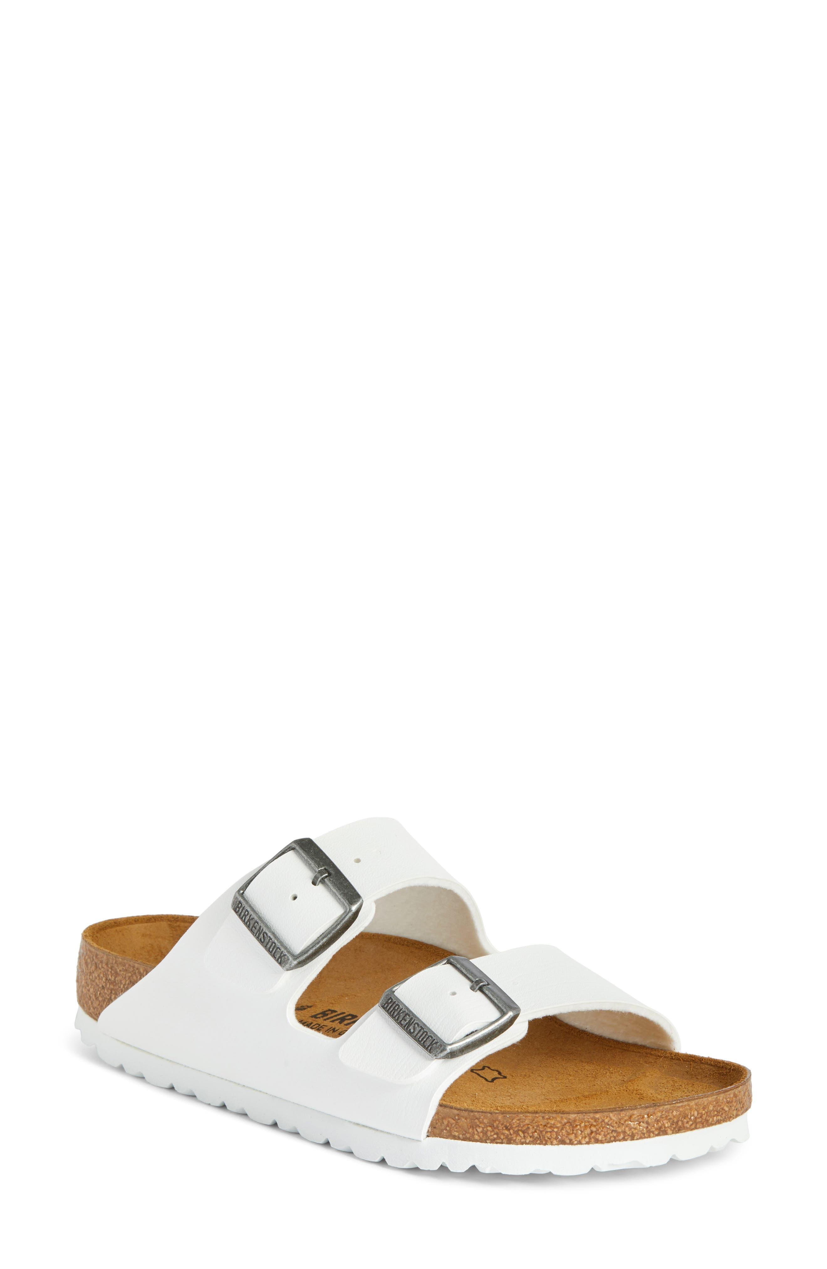 BIRKENSTOCK, 'Arizona' White Birko-Flor Sandal, Main thumbnail 1, color, WHITE SYNTHETIC LEATHER