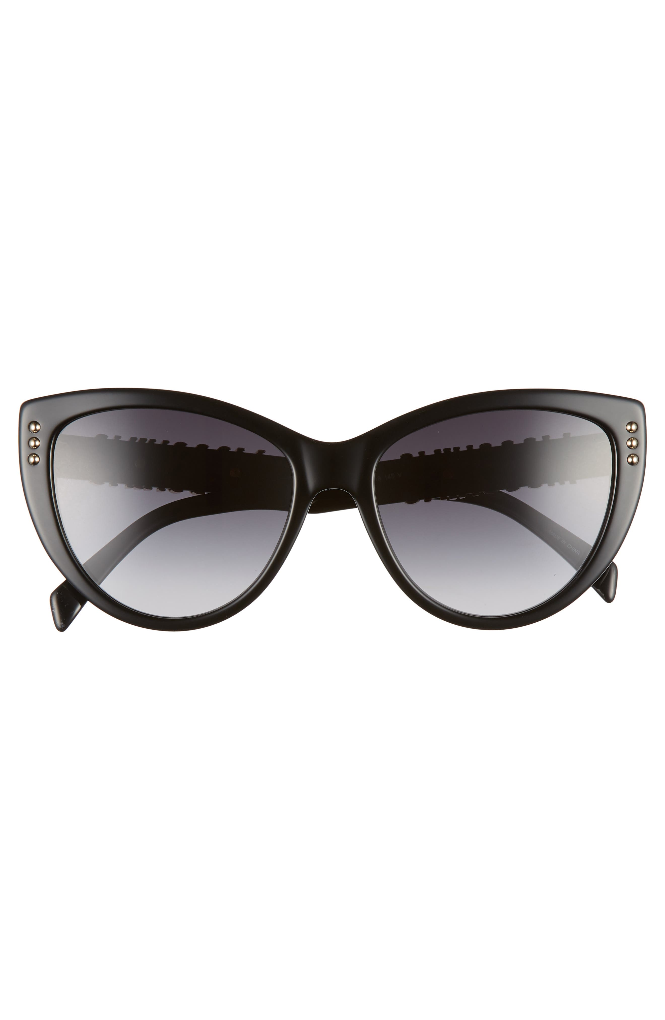 MOSCHINO, 56mm Gradient Cat Eye Sunglasses, Alternate thumbnail 3, color, BLACK