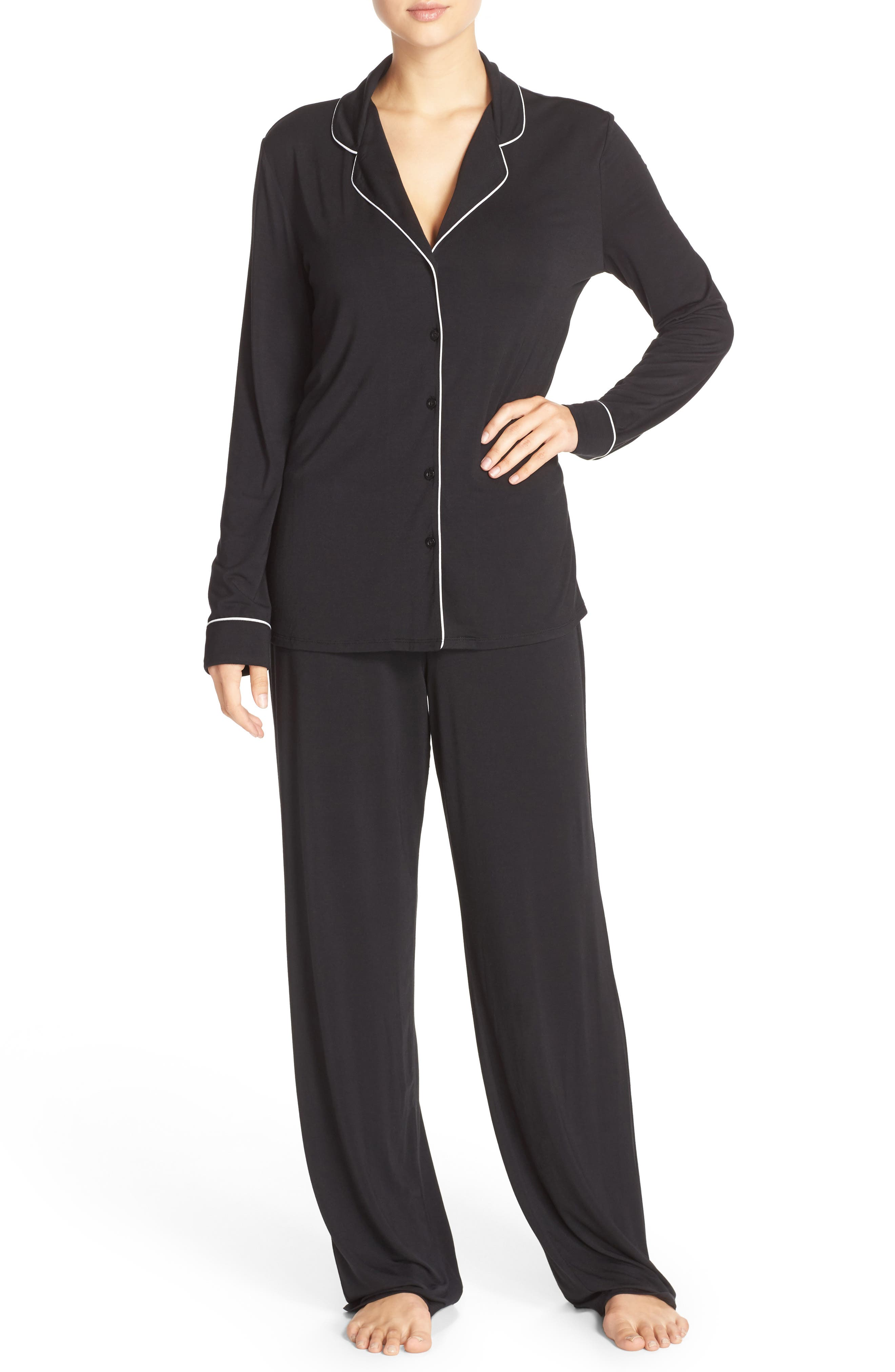 NORDSTROM LINGERIE, Moonlight Pajamas, Main thumbnail 1, color, BLACK