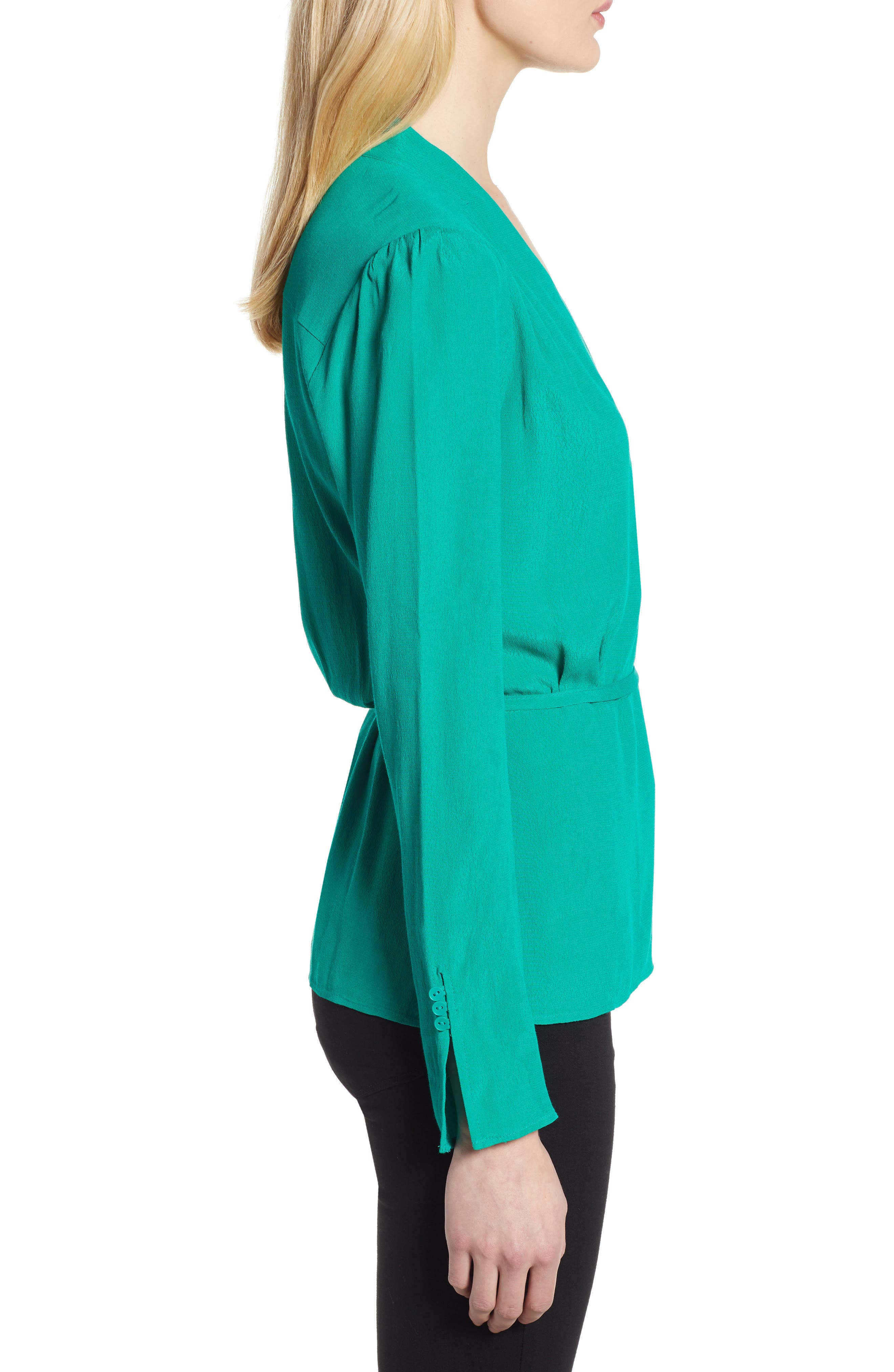 CHELSEA28, Tie Waist Wrap Top, Alternate thumbnail 3, color, GREEN PARAKEET