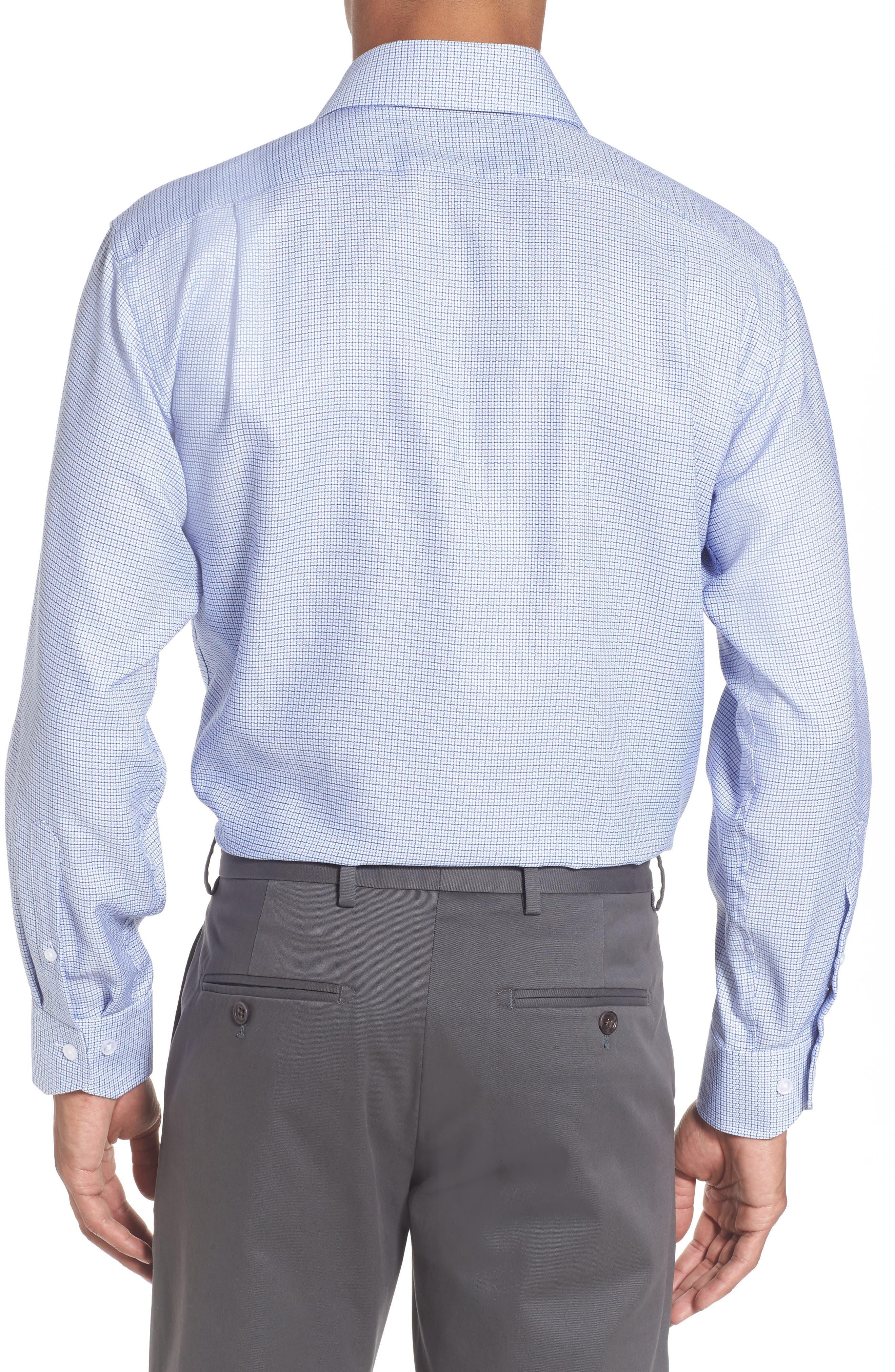 LORENZO UOMO, Trim Fit Check Dress Shirt, Alternate thumbnail 2, color, LIGHT BLUE/ NAVY