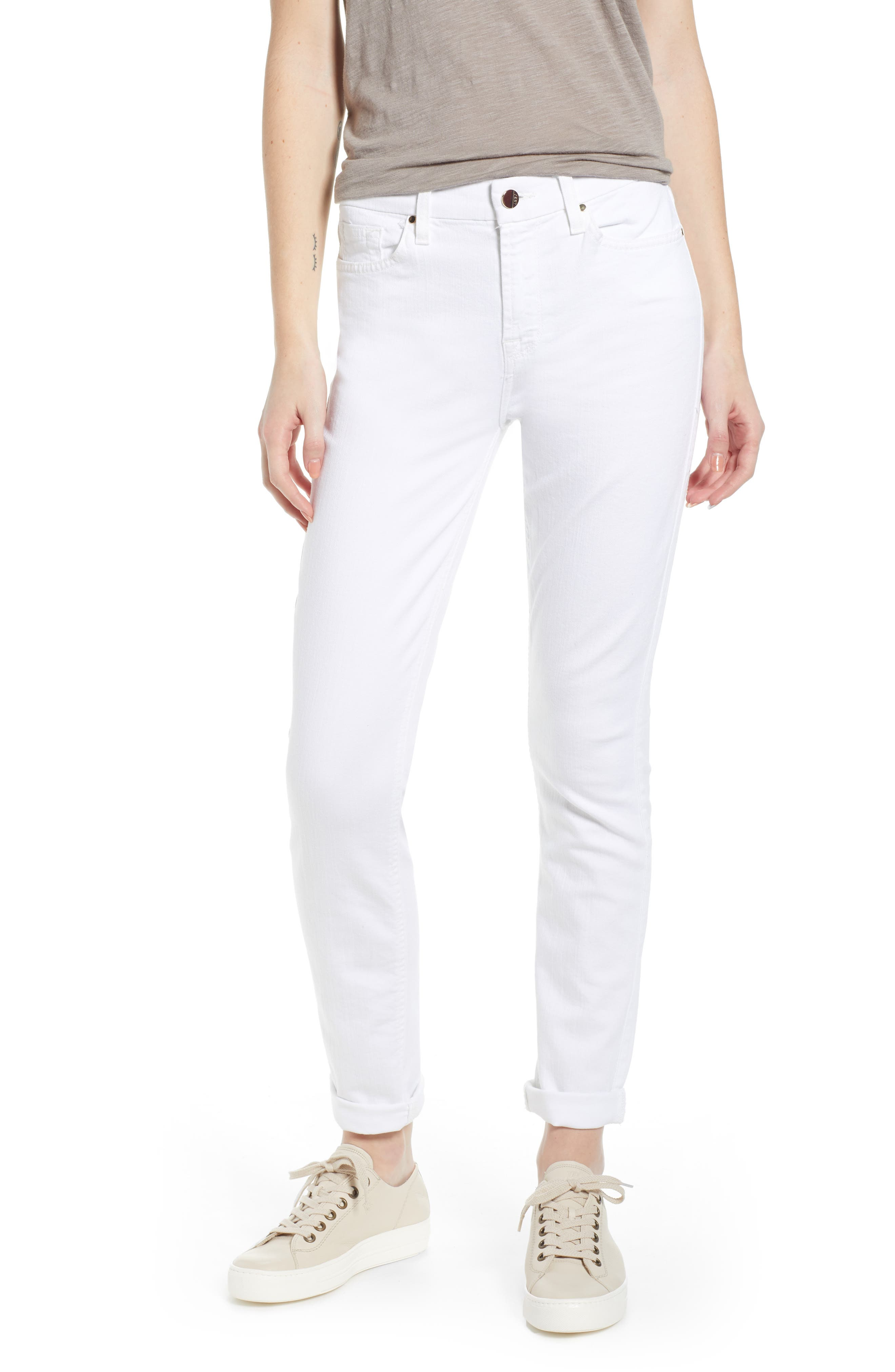JEN7 BY 7 FOR ALL MANKIND Stretch Skinny Jeans, Main, color, WHITE