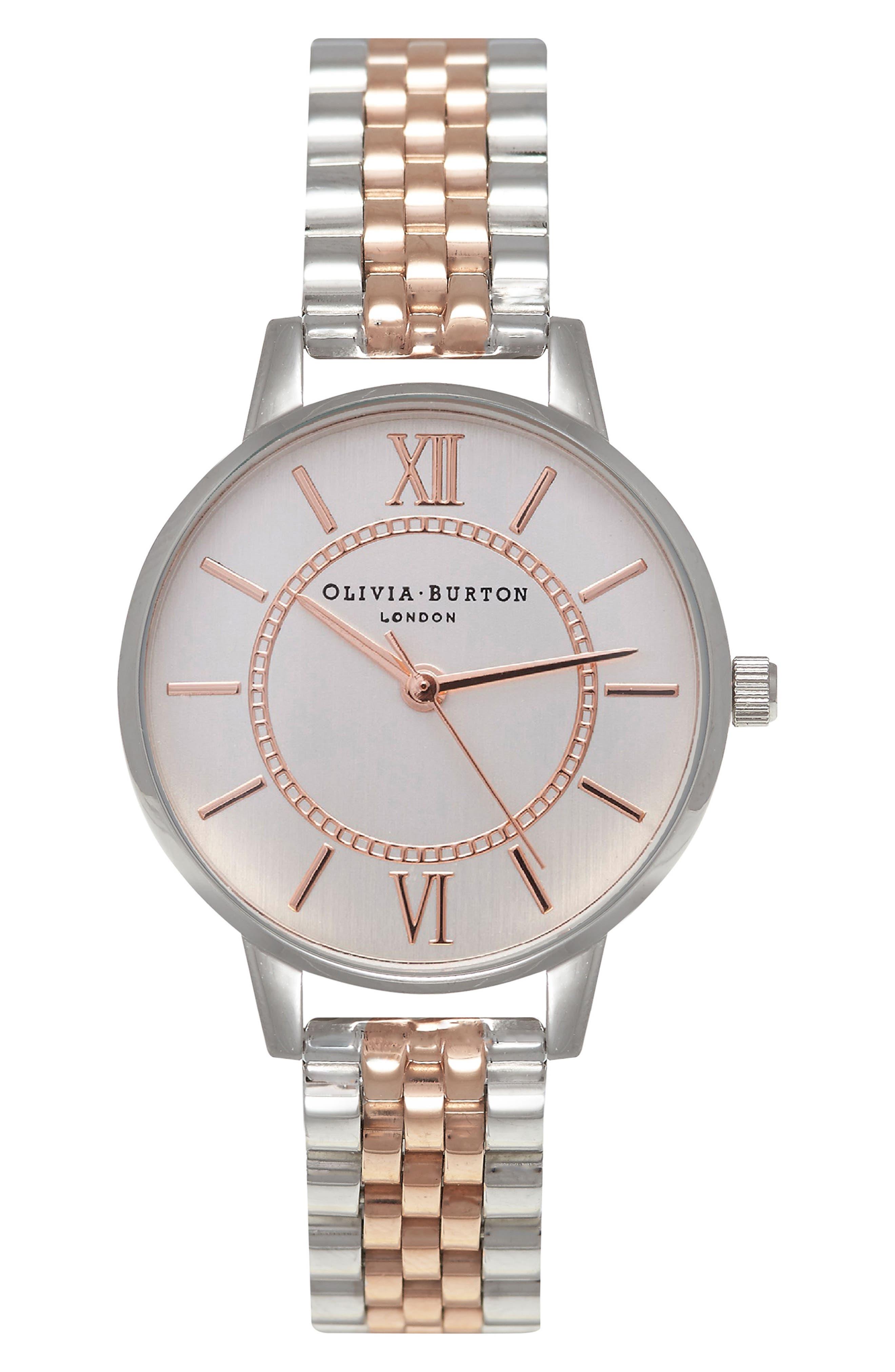 OLIVIA BURTON, Wonderland Bracelet Watch, 30mm, Main thumbnail 1, color, ROSE GOLD/ SILVER