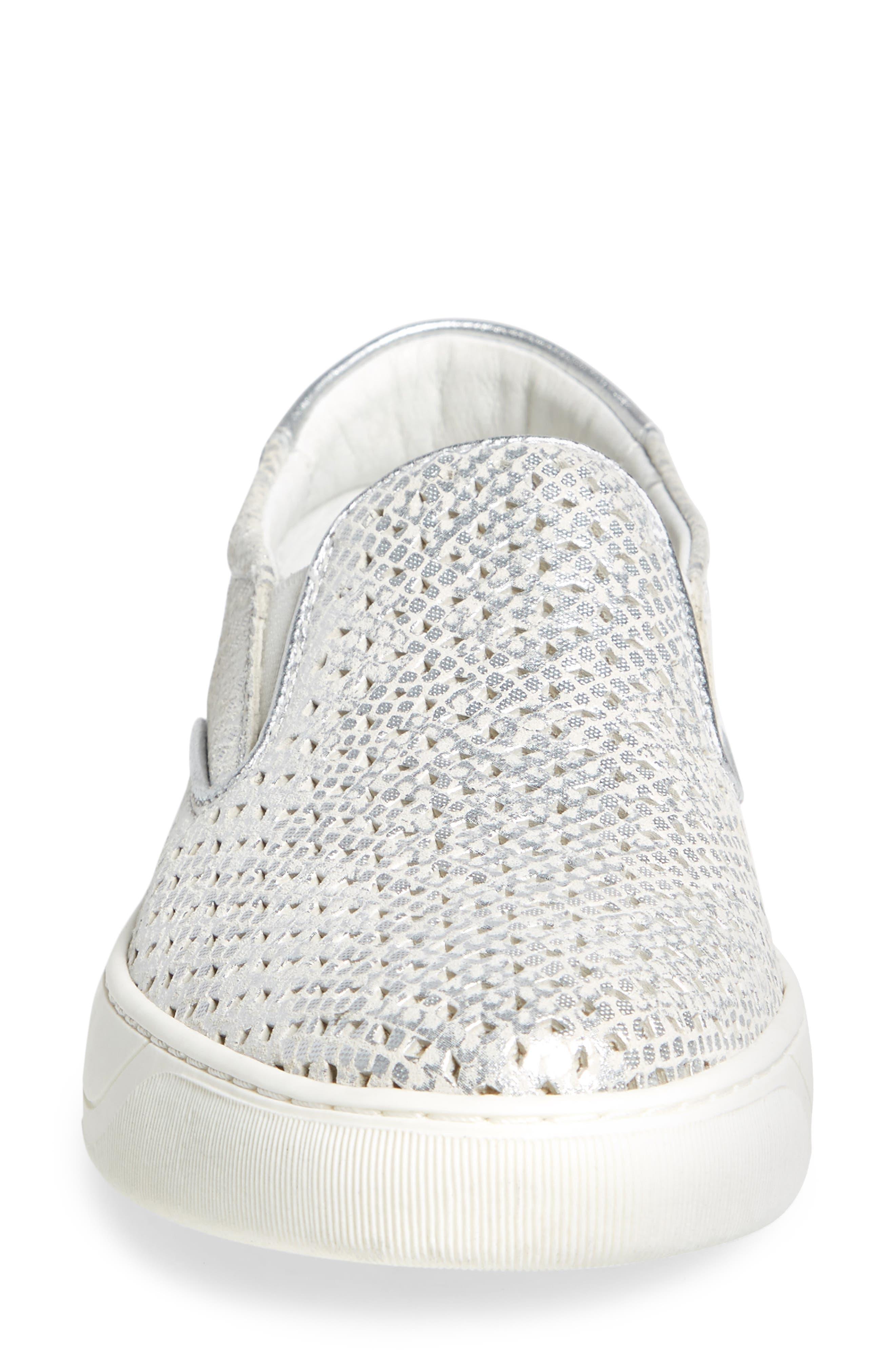 JOHNSTON & MURPHY, Elaine Slip-On Sneaker, Alternate thumbnail 4, color, SILVER SNAKE PRINT LEATHER