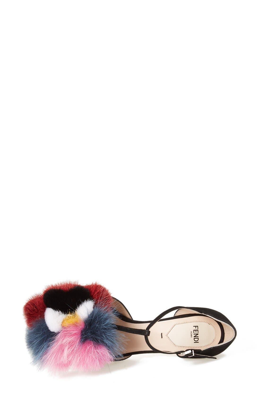 FENDI, 'Flowerland' Genuine Mink & Fux Fur Trim Sandal, Alternate thumbnail 4, color, 002