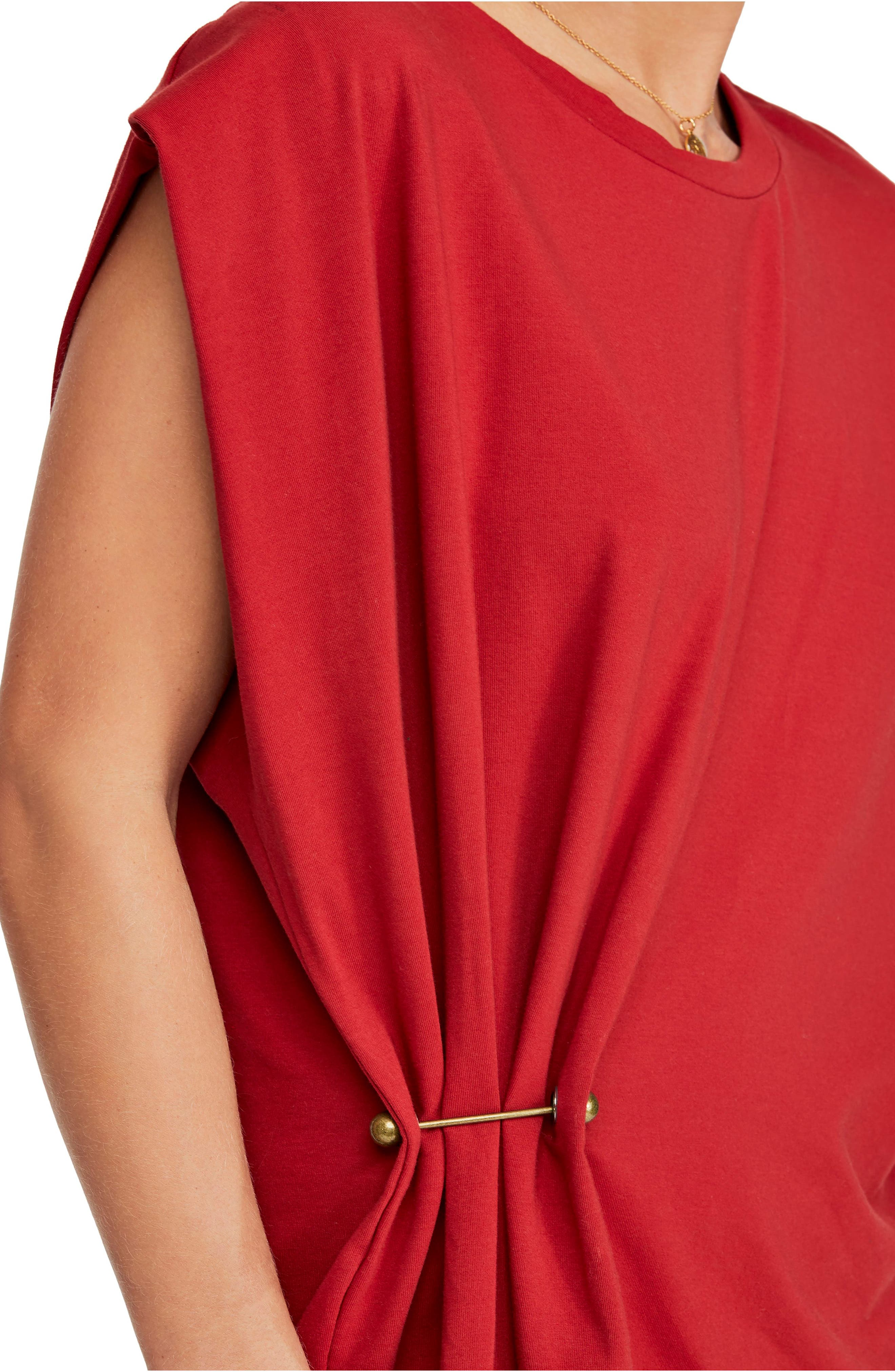 FREE PEOPLE, Bianca Shift Dress, Alternate thumbnail 5, color, RED