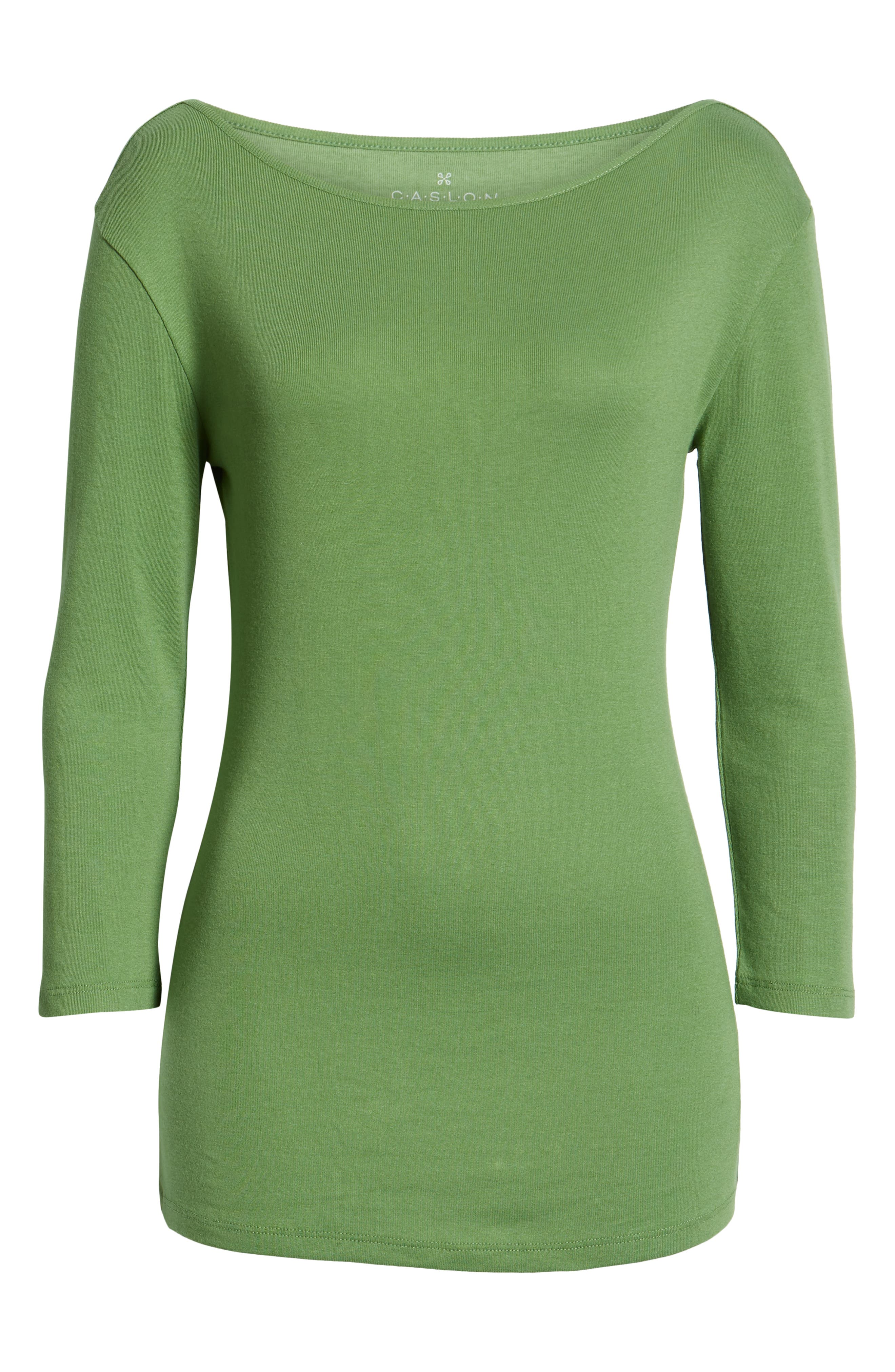 CASLON<SUP>®</SUP>, Three Quarter Sleeve Tee, Alternate thumbnail 7, color, GREEN WILLOW