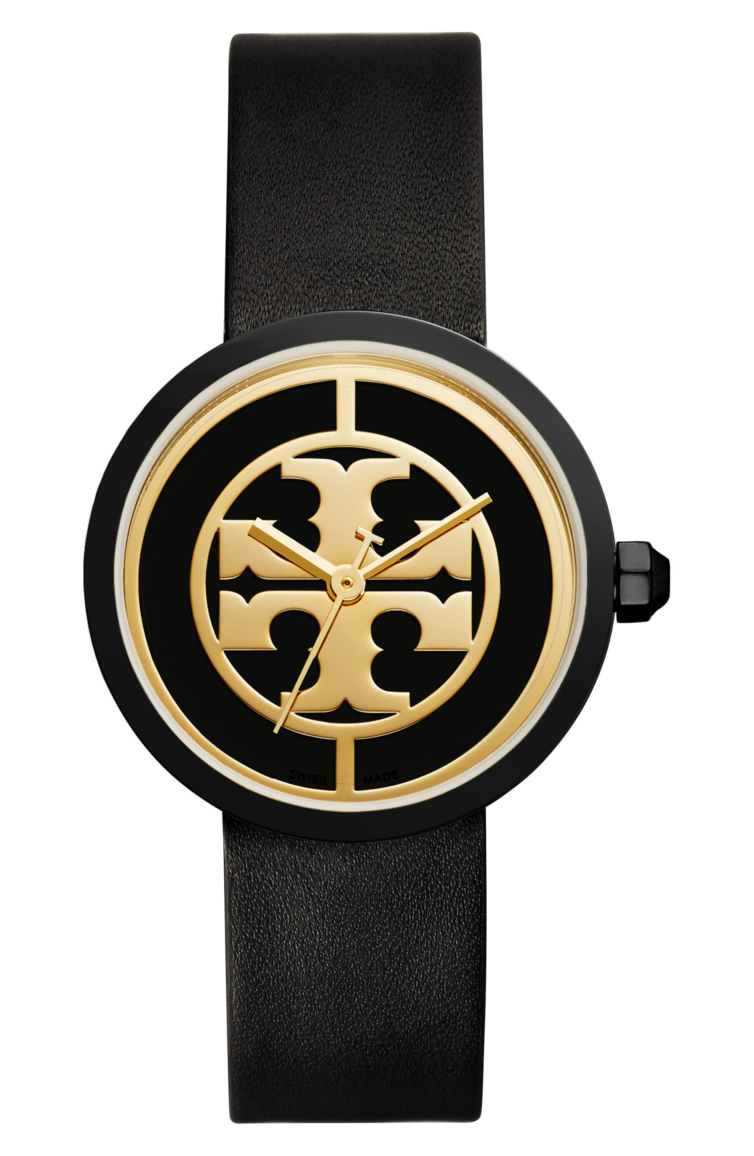 TORY BURCH, Reva Logo Dial Leather Strap Watch, 36mm, Main thumbnail 1, color, BLACK/ GOLD