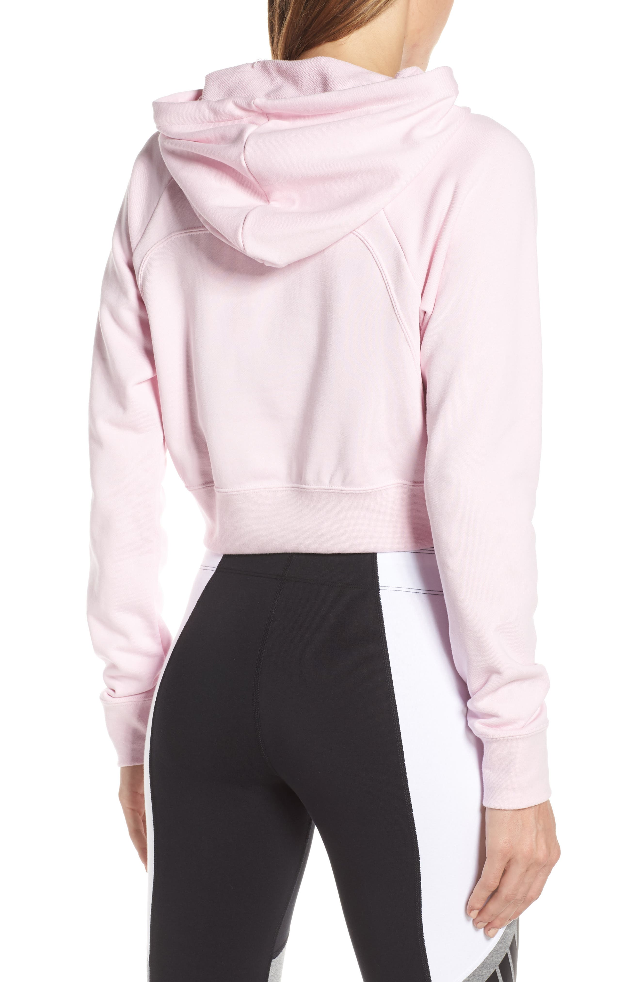 NIKE, Sportswear Women's Cropped Hoodie, Alternate thumbnail 2, color, PINK FOAM/ BLACK