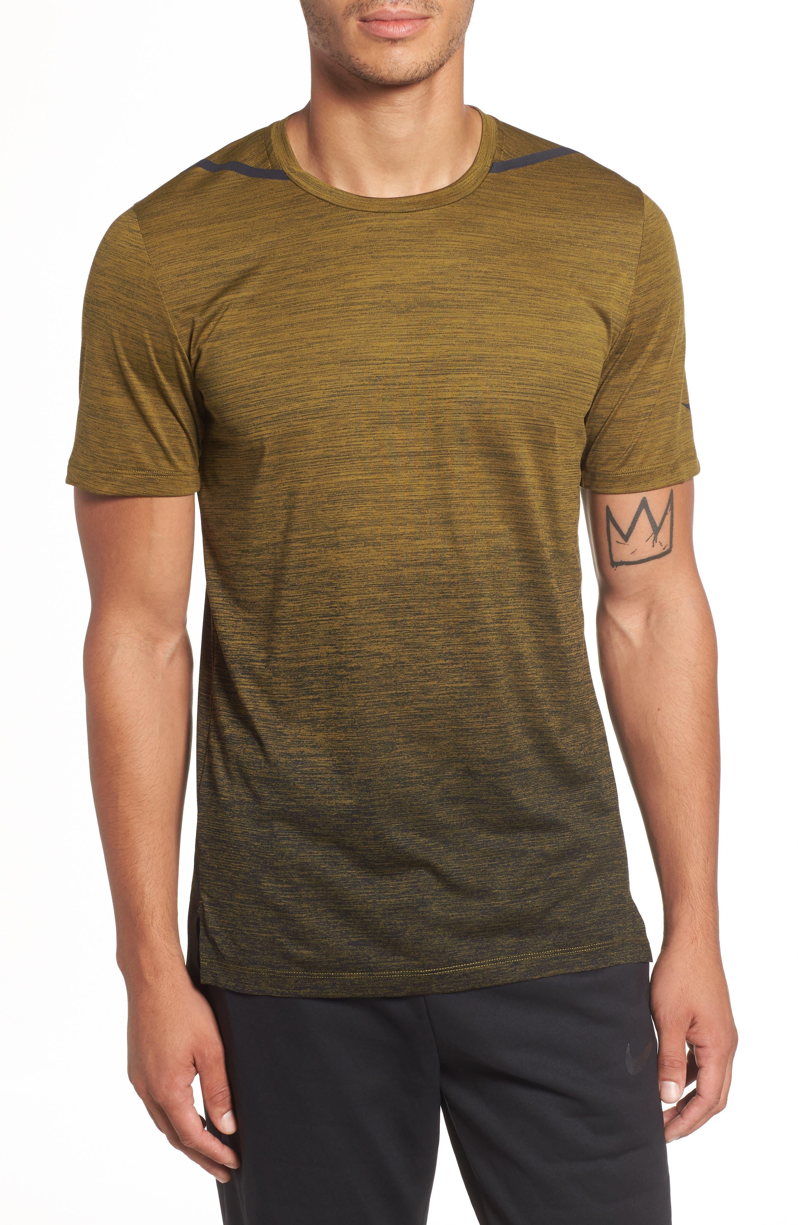 NIKE, Dry Max Training T-Shirt, Main thumbnail 1, color, OLIVE FLAK/ BLACK/ COBALT