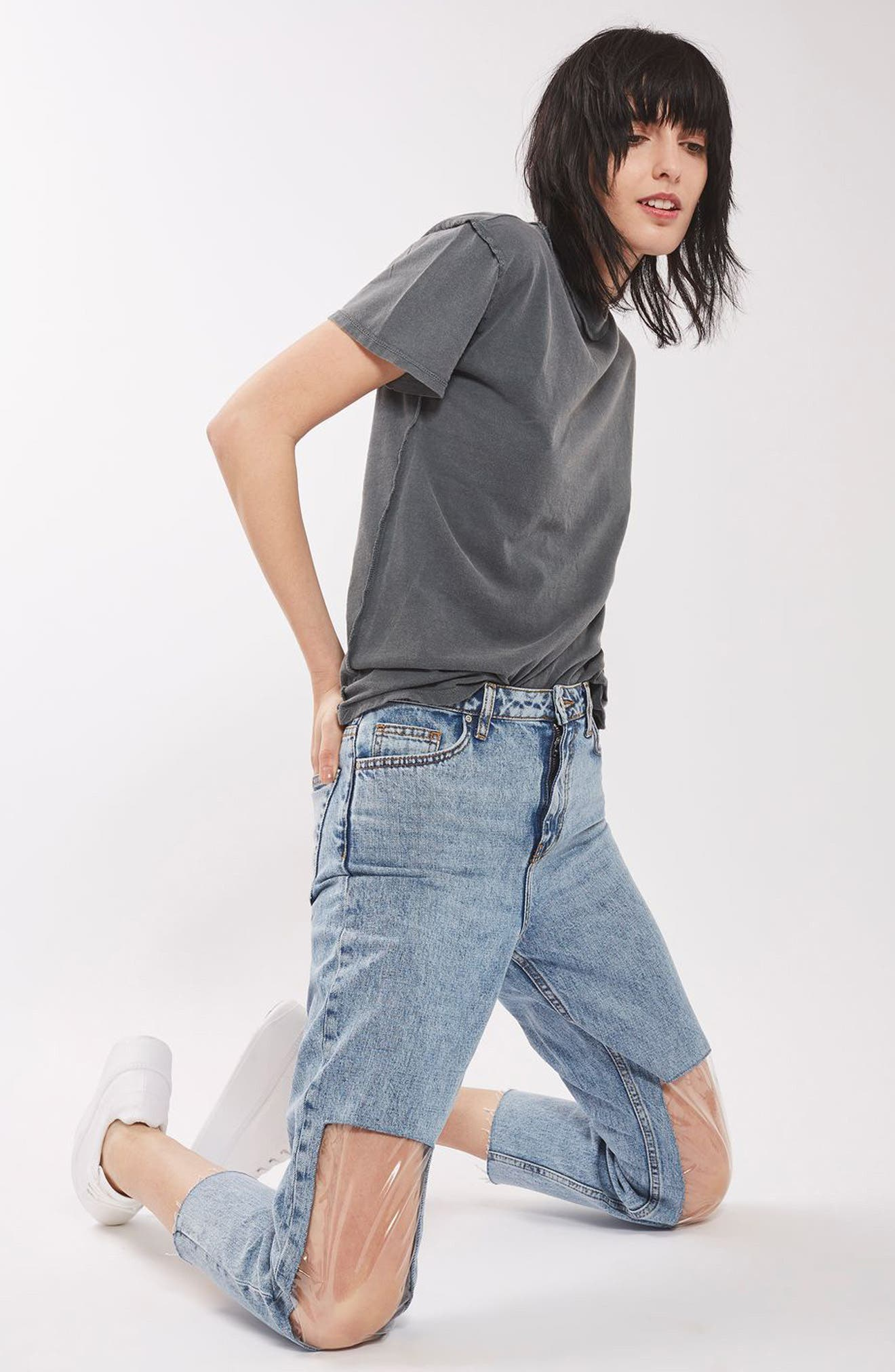 TOPSHOP, Clear Knee Mom Jeans, Alternate thumbnail 3, color, 400