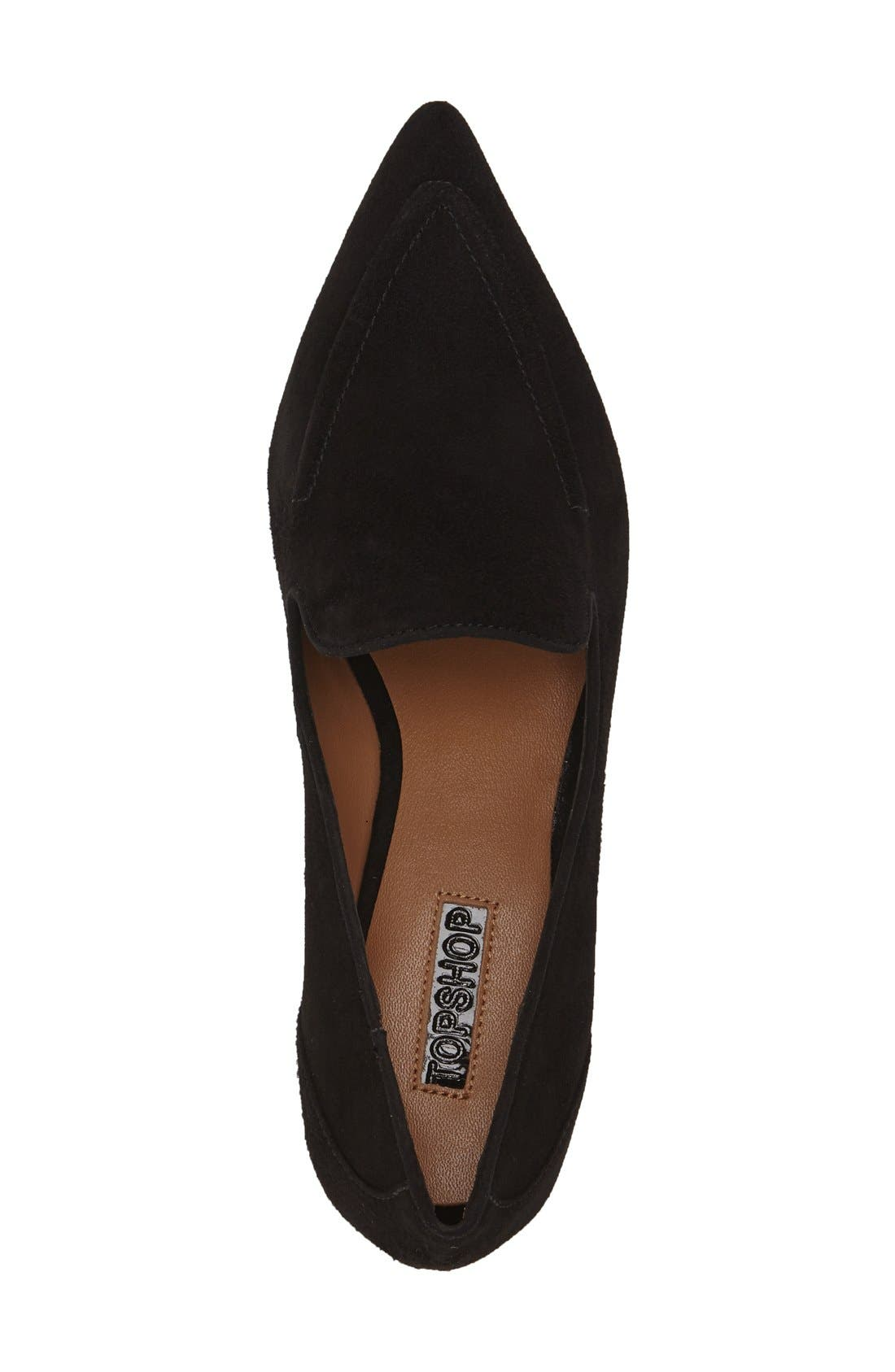 TOPSHOP, 'Kindred' Pointy Toe Loafer, Alternate thumbnail 2, color, 001