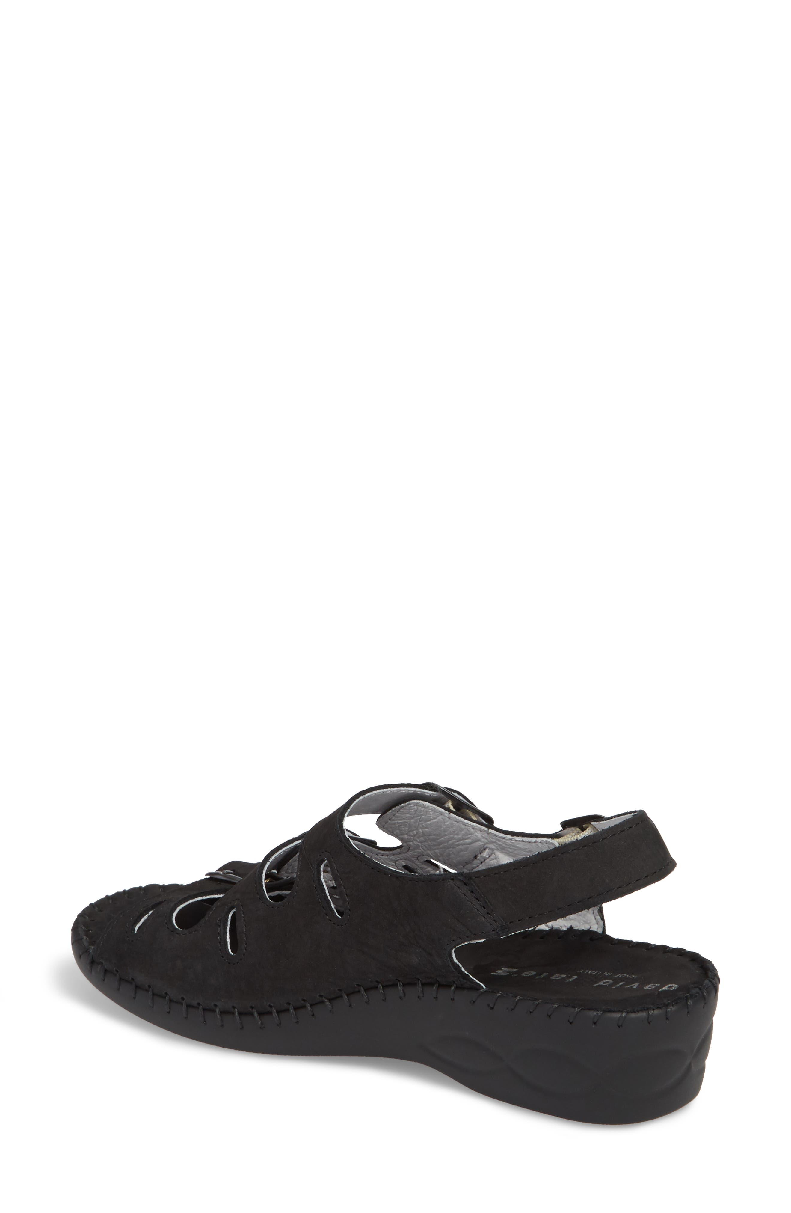 DAVID TATE, Luna Slingback Wedge Sandal, Alternate thumbnail 2, color, BLACK NUBUCK