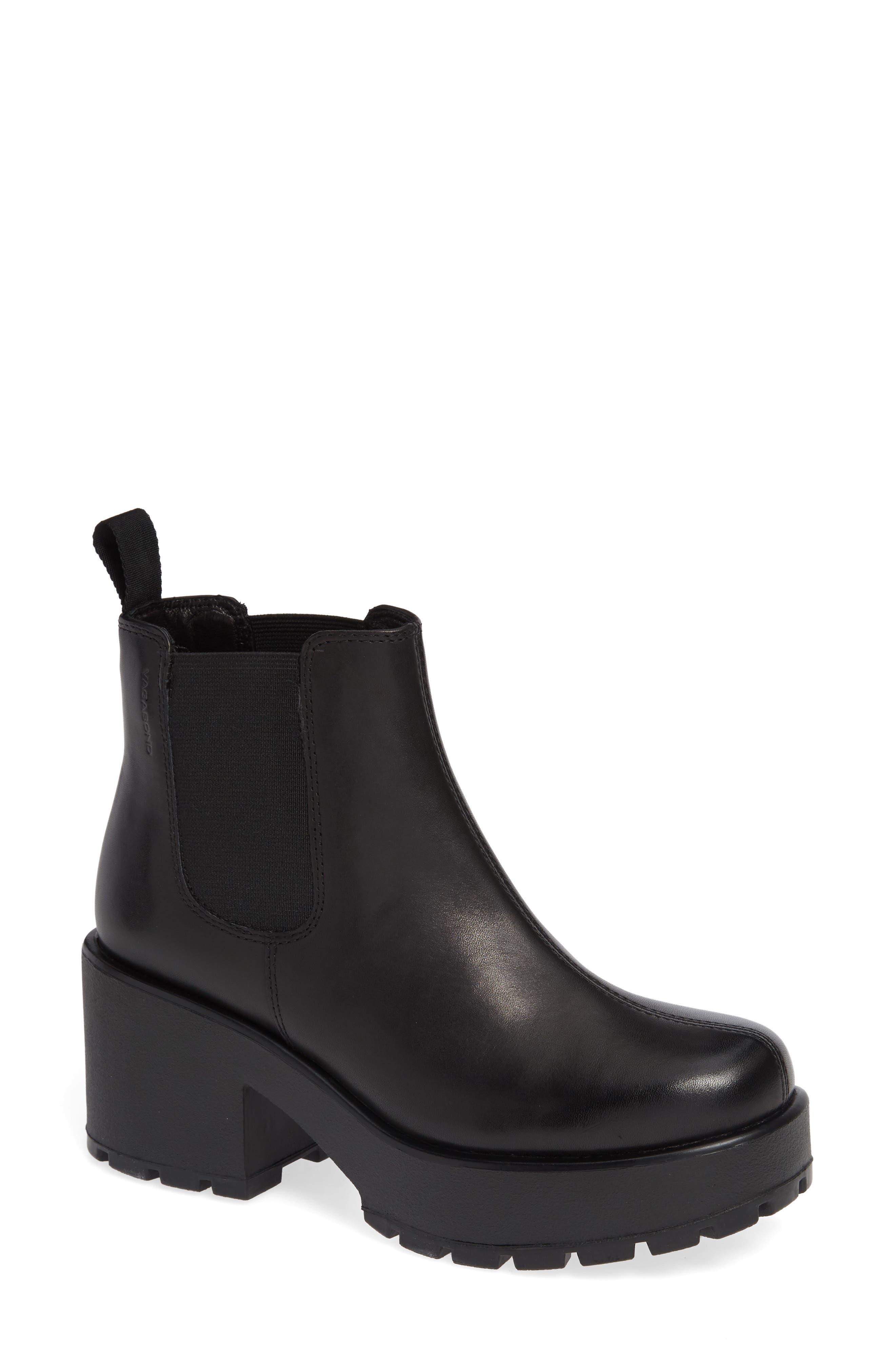 VAGABOND, Shoemakers Dioon Platform Chelsea Bootie, Main thumbnail 1, color, BLACK LEATHER