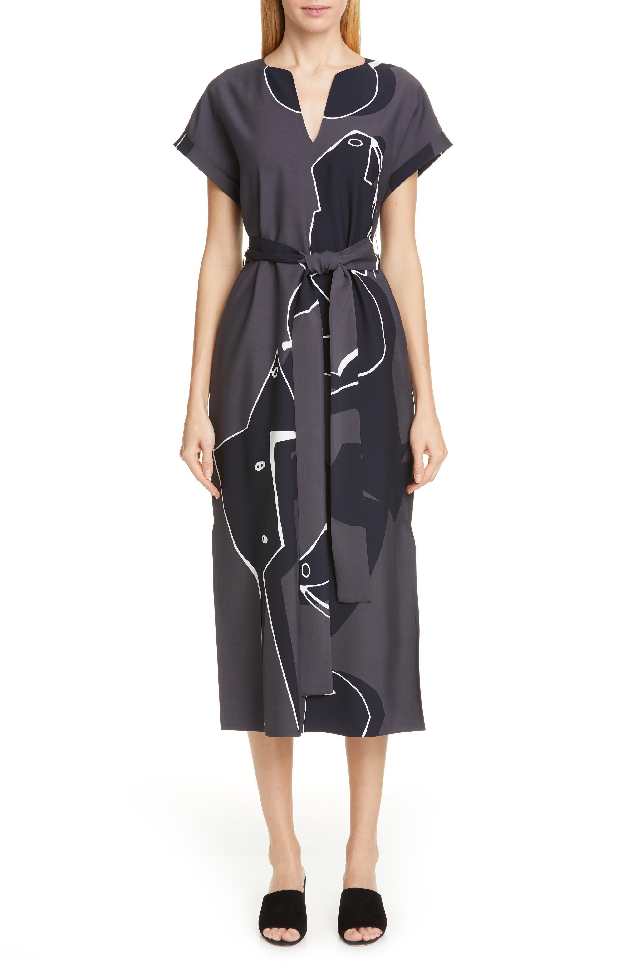 Lafayette 148 New York Cosimia Print Midi Dress, Grey