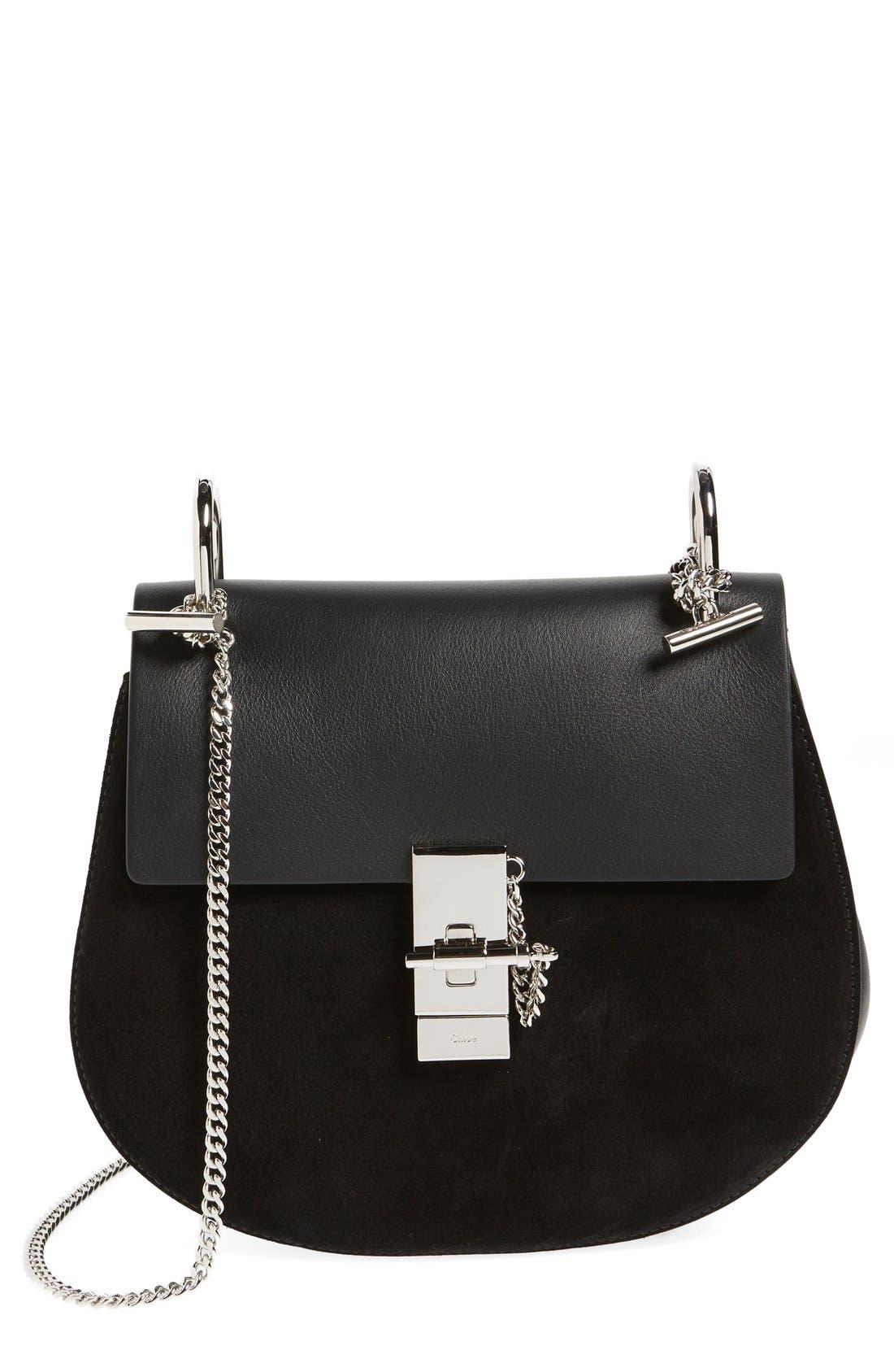 CHLOÉ Small Drew Leather & Suede Shoulder Bag, Main, color, 001