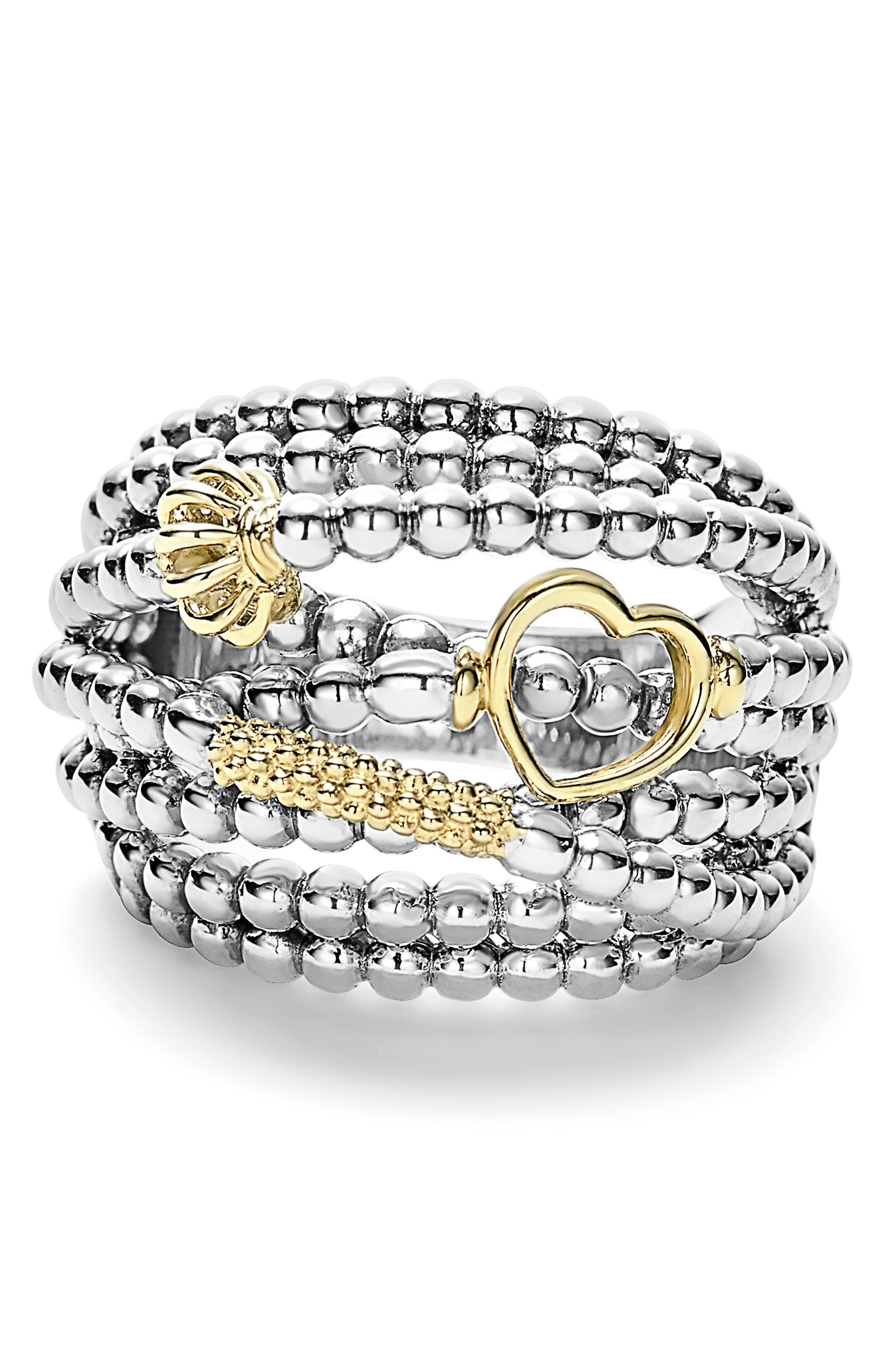 LAGOS, 'Caviar Icon' Multi-Row Dome Ring, Alternate thumbnail 5, color, SILVER/ GOLD