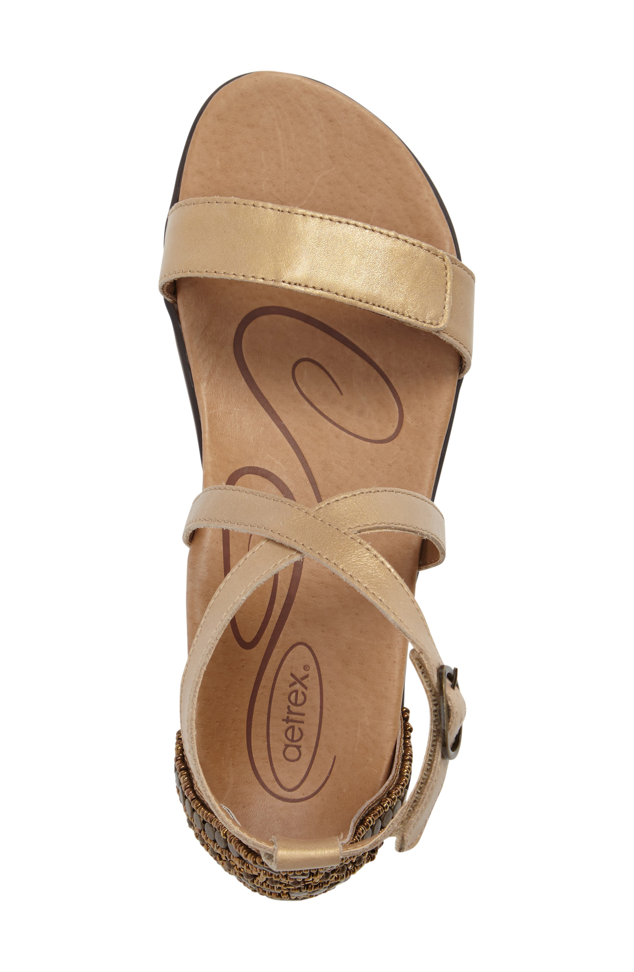 AETREX, Brenda Embellished Cross Strap Sandal, Alternate thumbnail 5, color, STONE LEATHER