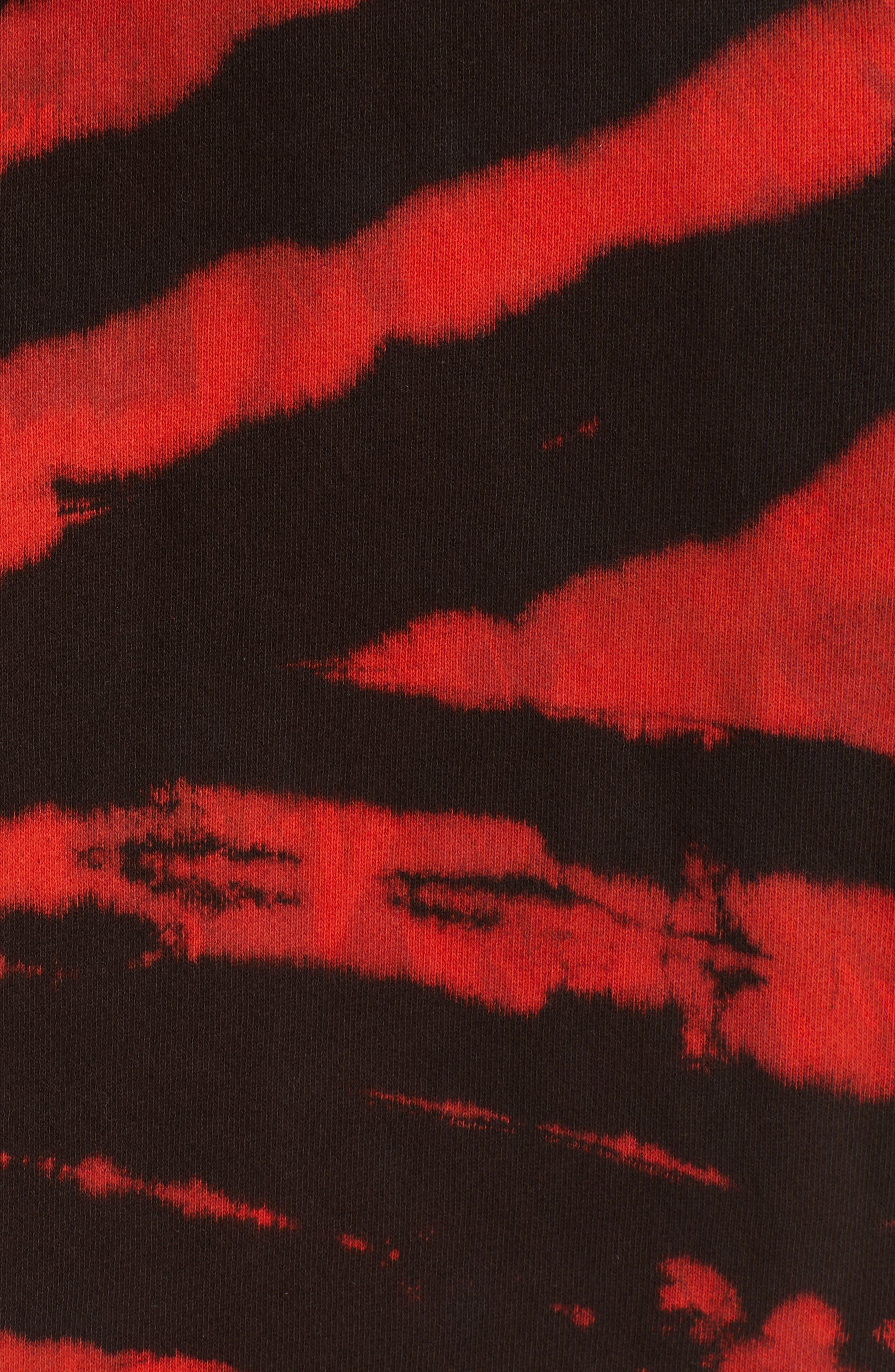 PROENZA SCHOULER, PSWL Tie Dye Hoodie, Alternate thumbnail 5, color, RED/ BLACK