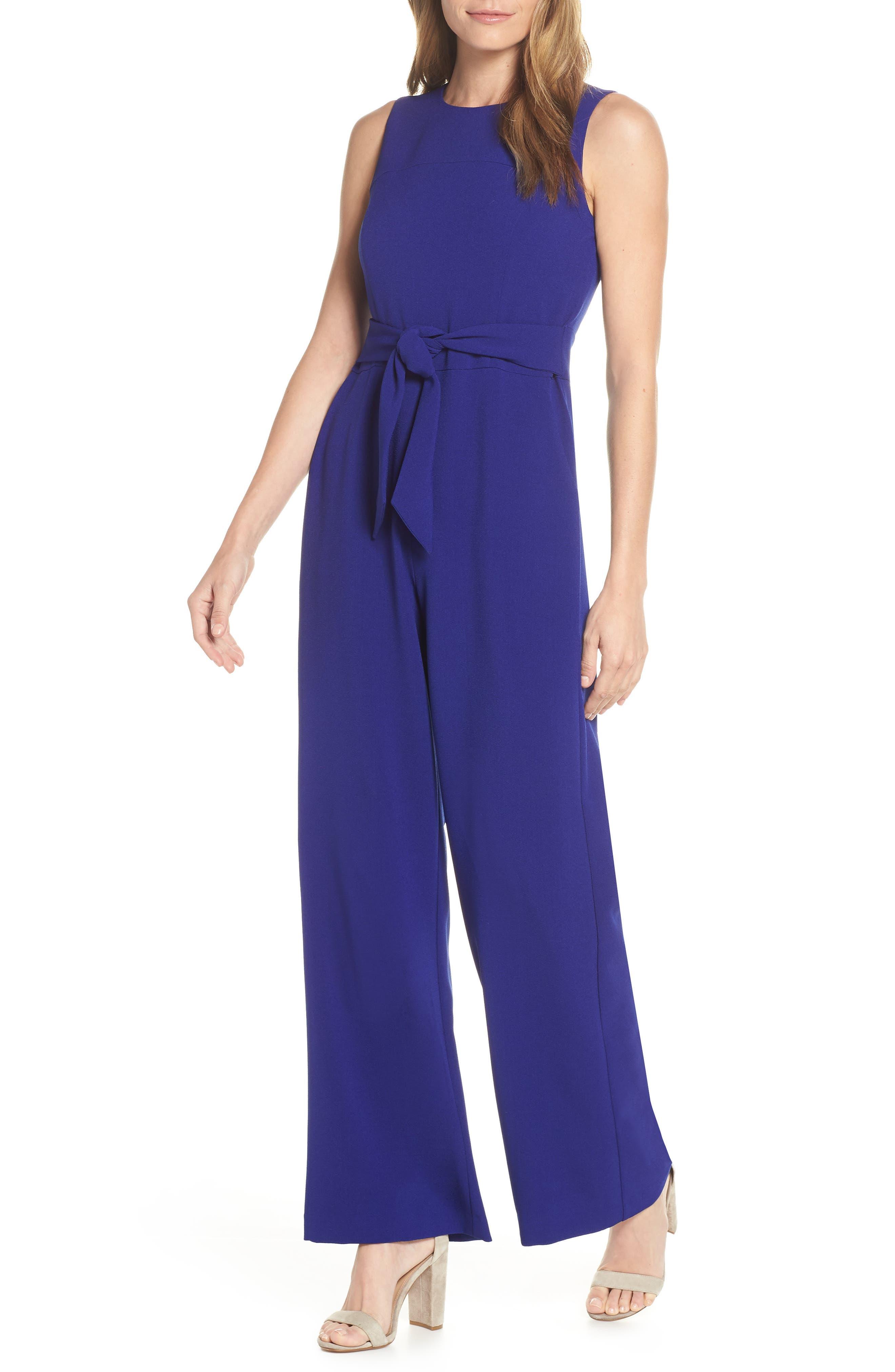 VINCE CAMUTO Kors Crepe Jumpsuit, Main, color, COBALT