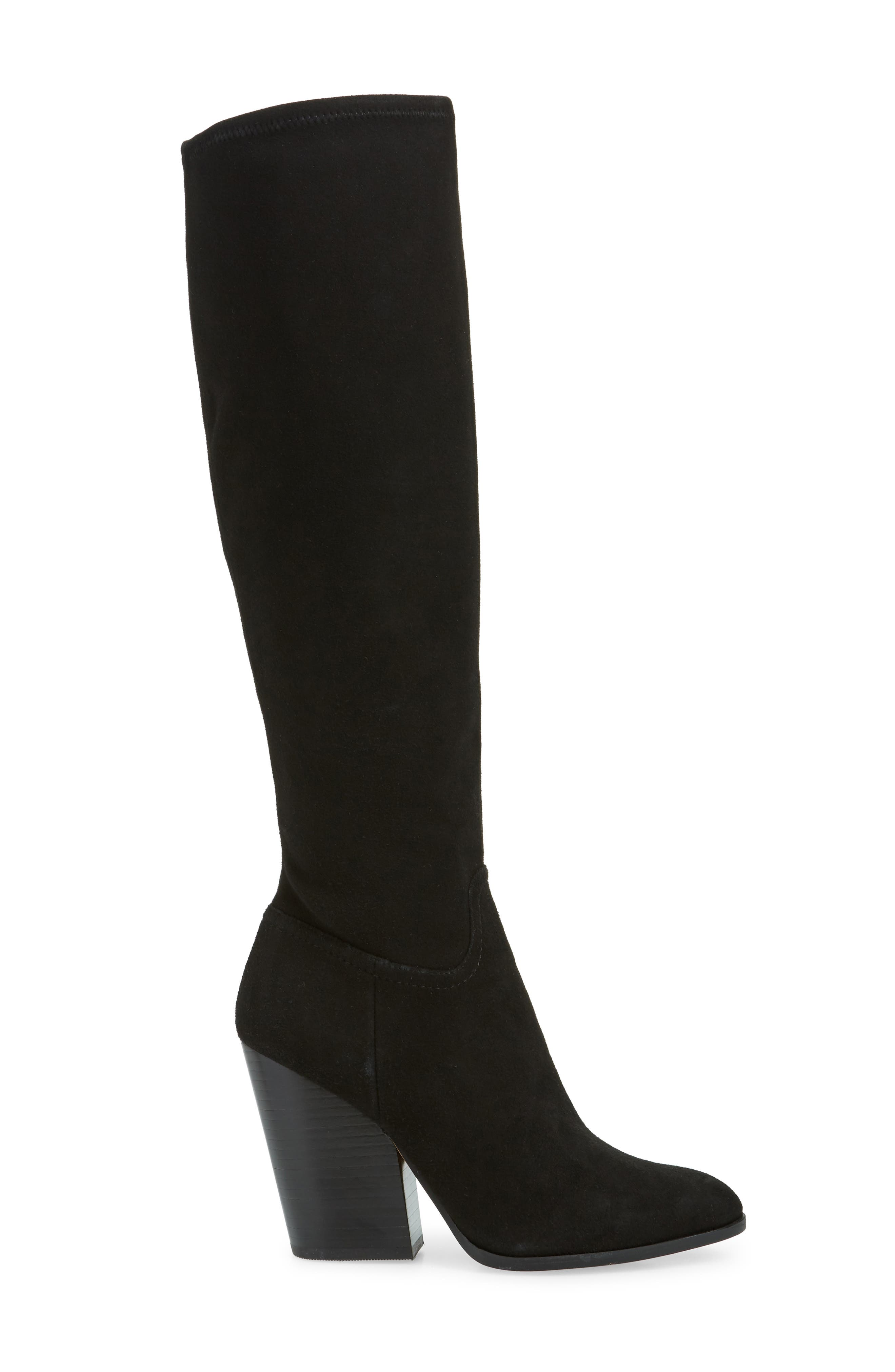 LINEA PAOLO, Elena Knee High Boot, Alternate thumbnail 3, color, BLACK STRETCH SUEDE