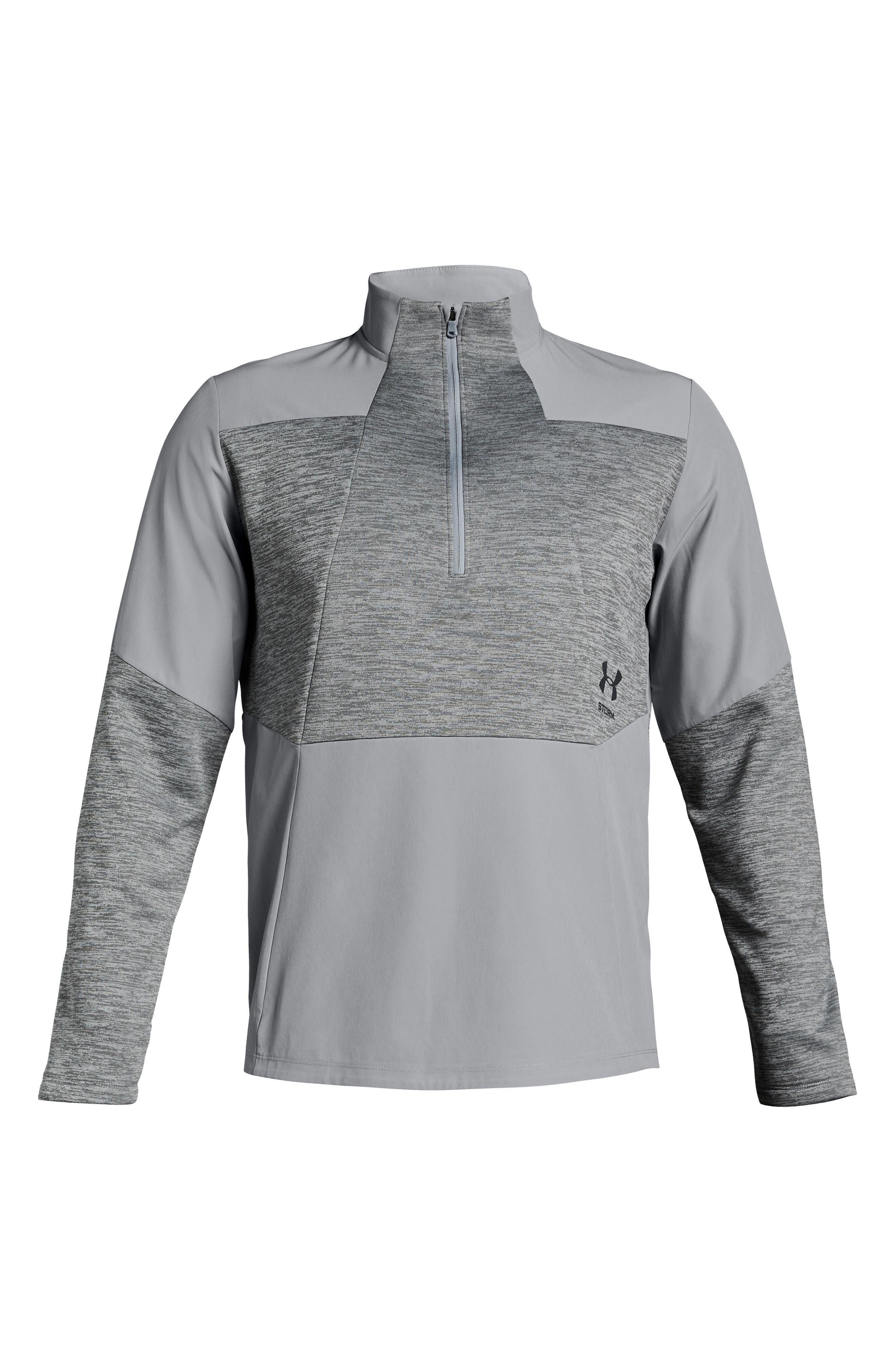 UNDER ARMOUR, Storm Cyclone Water Repellent Quarter Zip Pullover, Alternate thumbnail 4, color, OVERCAST GREY/ BLACK