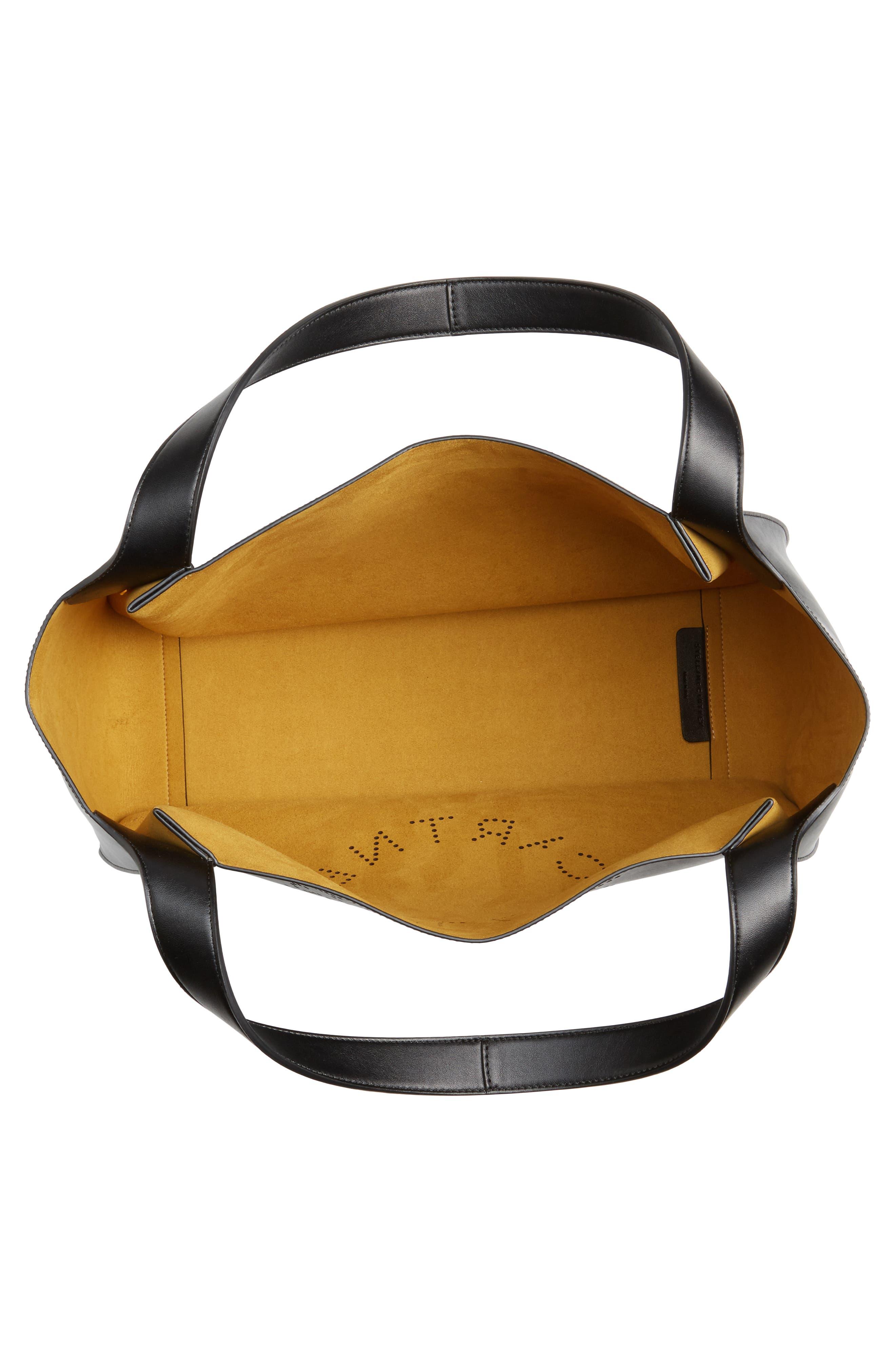 STELLA MCCARTNEY, Medium Perforated Logo Faux Leather Tote, Alternate thumbnail 4, color, BLACK