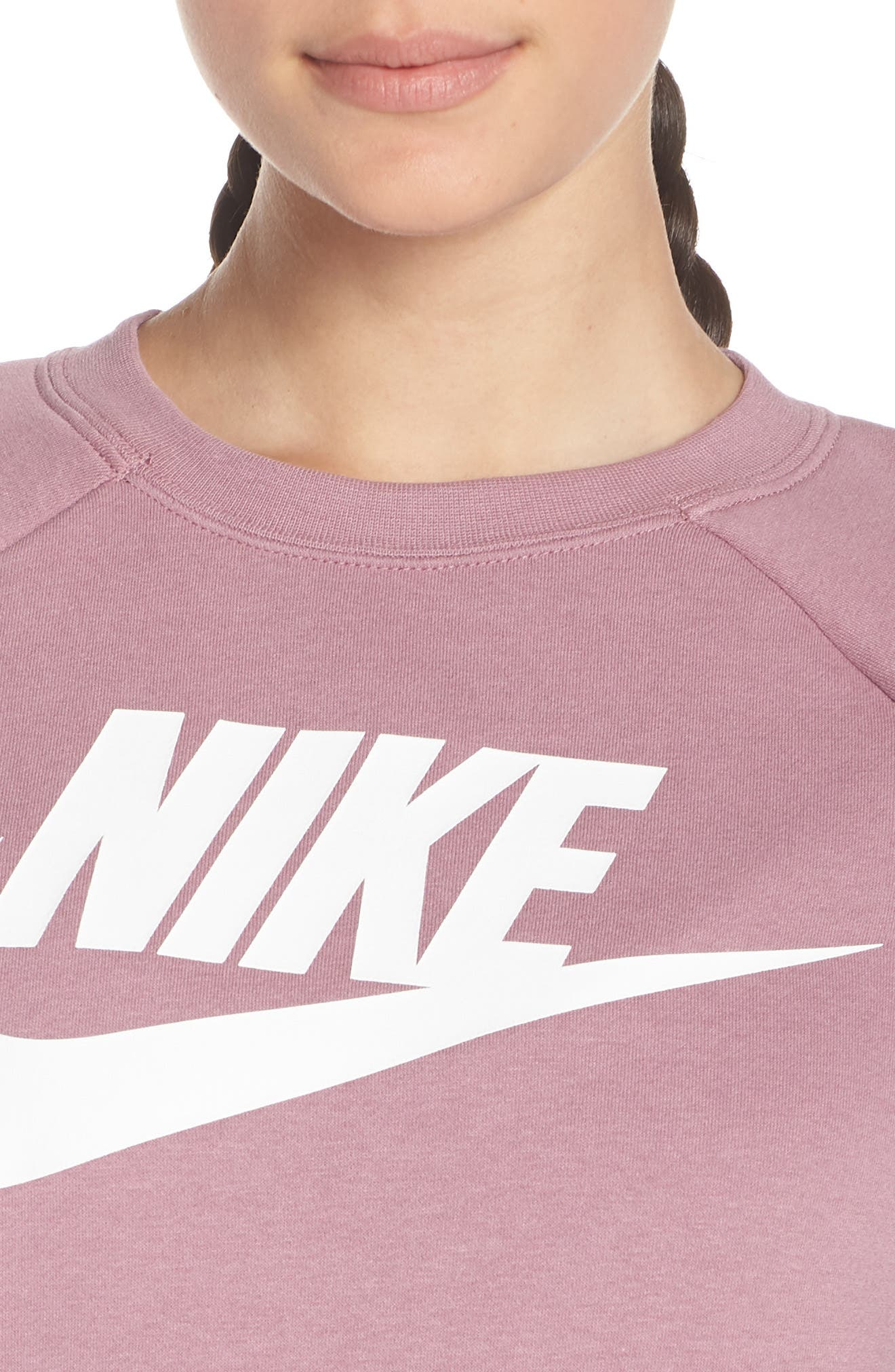 NIKE, NSW Rally Sweatshirt, Alternate thumbnail 5, color, PLUM DUST/ WHITE