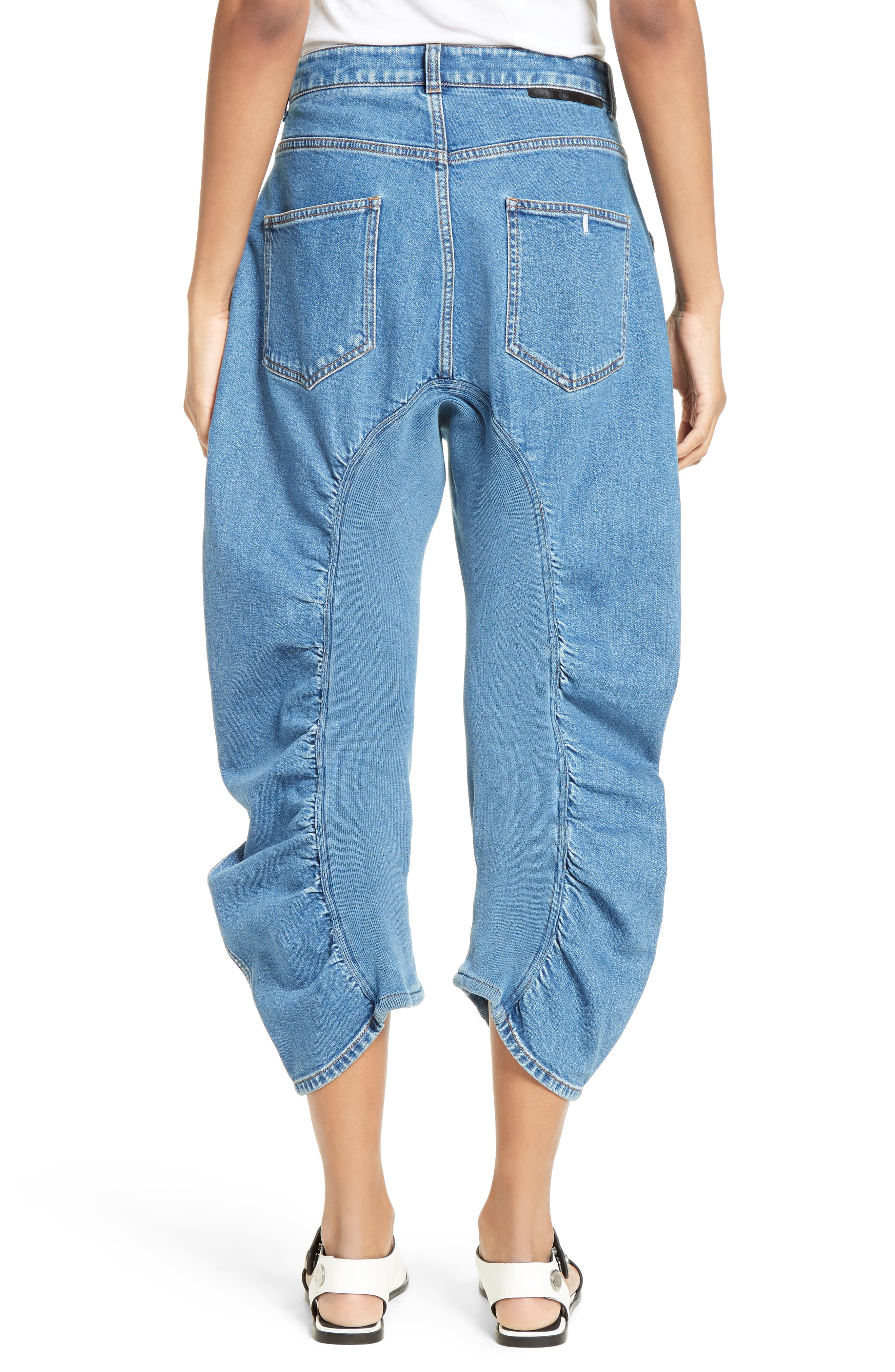 STELLA MCCARTNEY, Xenia Ruched Crop Jeans, Alternate thumbnail 2, color, 400