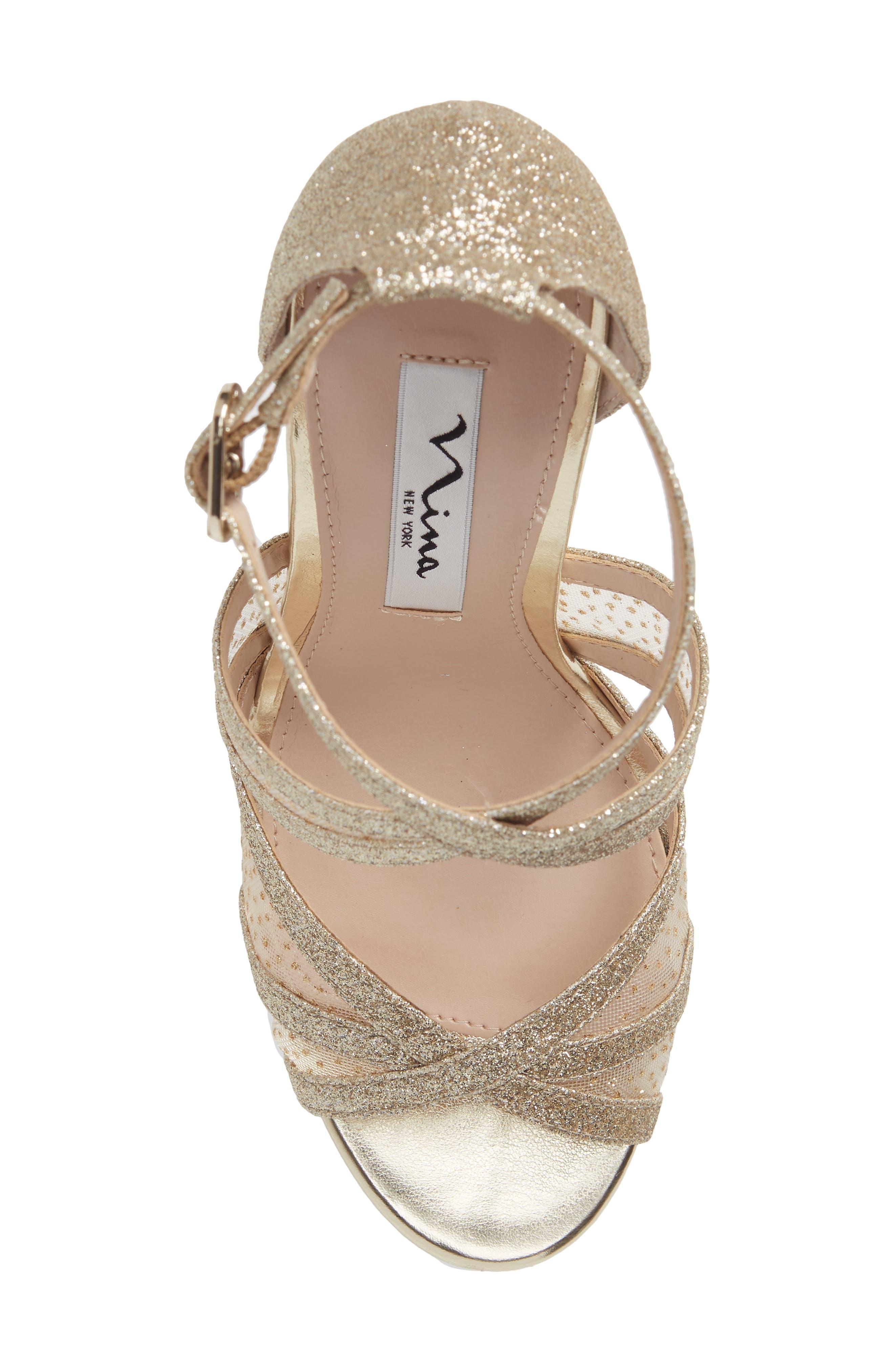 NINA, Fenna Strappy Platform Sandal, Alternate thumbnail 5, color, GOLD GLITTER FABRIC