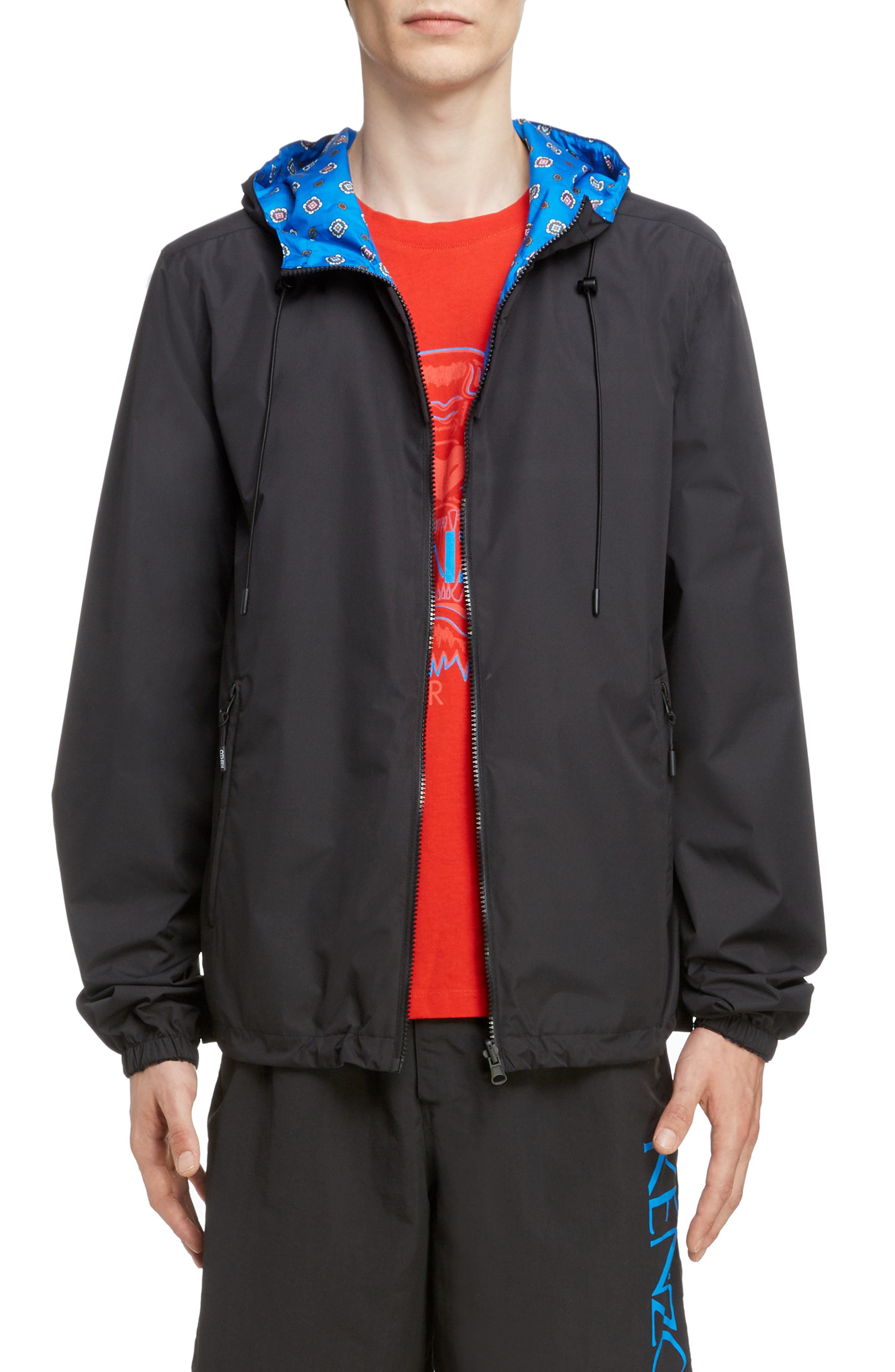 KENZO, Reversible Hooded Windbreaker, Main thumbnail 1, color, BLACK