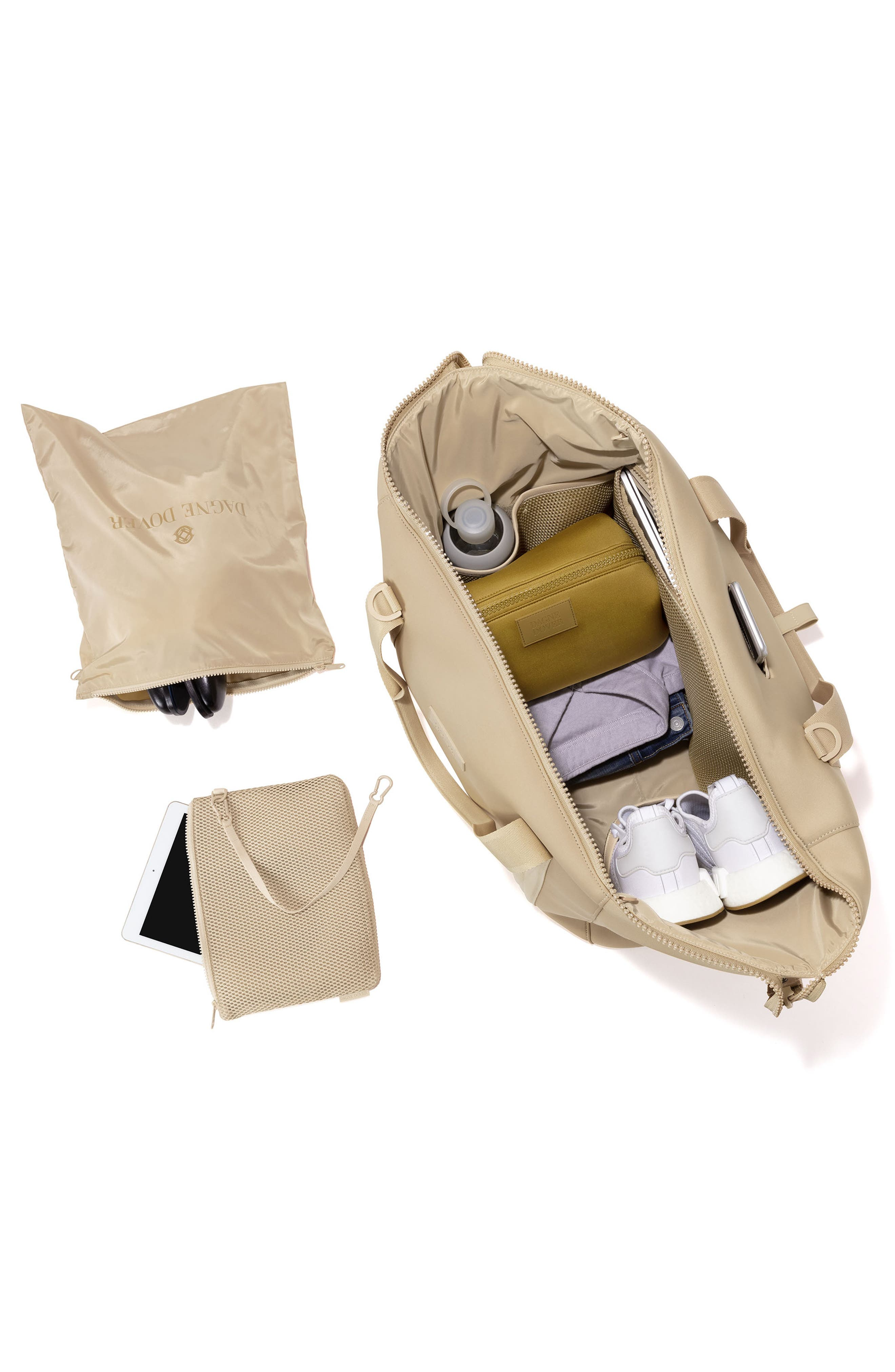 DAGNE DOVER, XL Landon Carryall Duffle Bag, Alternate thumbnail 3, color, ALMOND LATTE